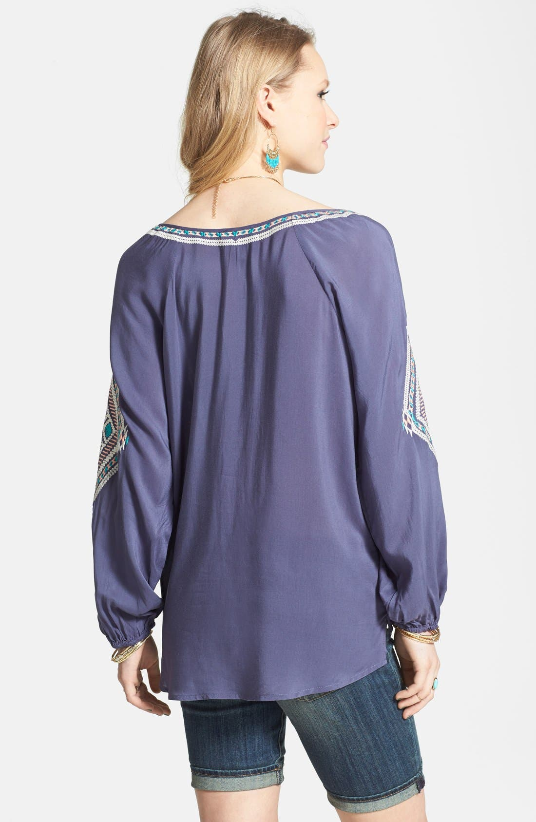 Embroidered Peasant Top,                             Alternate thumbnail 2, color,                             Slate Blue