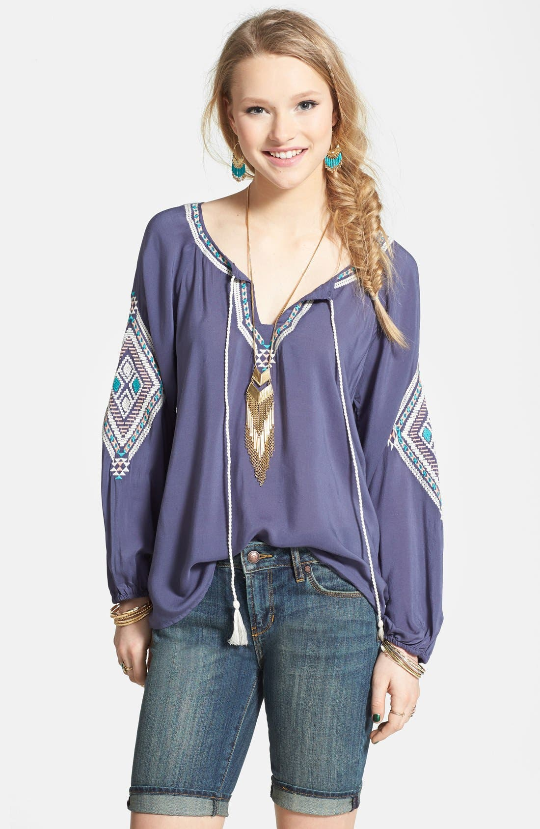 Embroidered Peasant Top,                         Main,                         color, Slate Blue