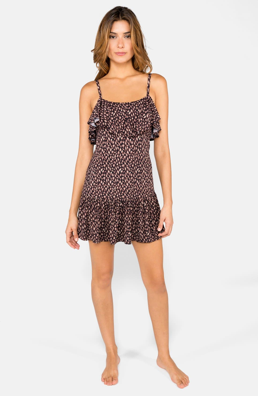 Alternate Image 1 Selected - DKNY 'Mini Animal' Ruffle Cover-Up Dress