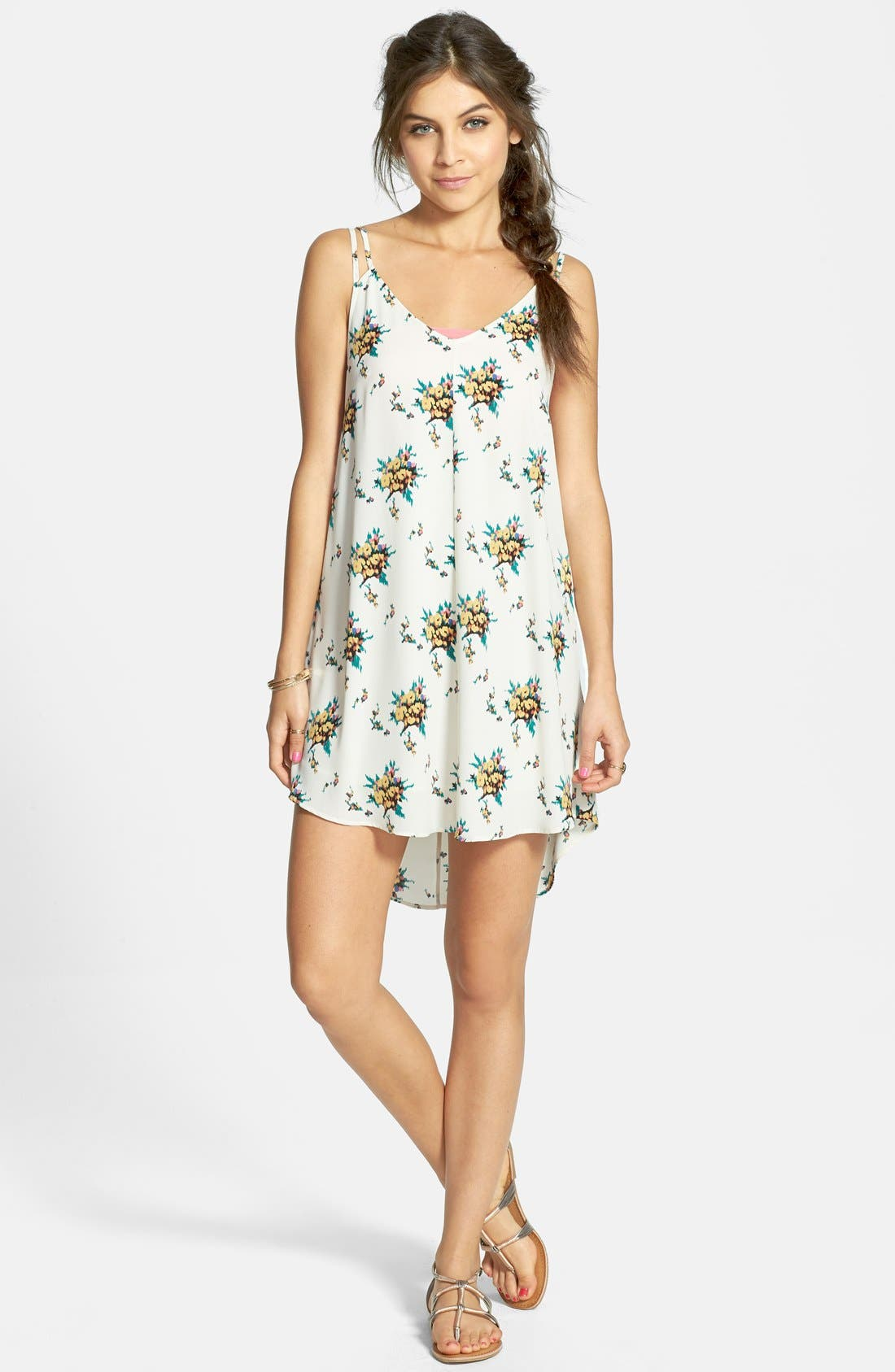 Alternate Image 1 Selected - Lush Floral Print High/Low Dress (Juniors)