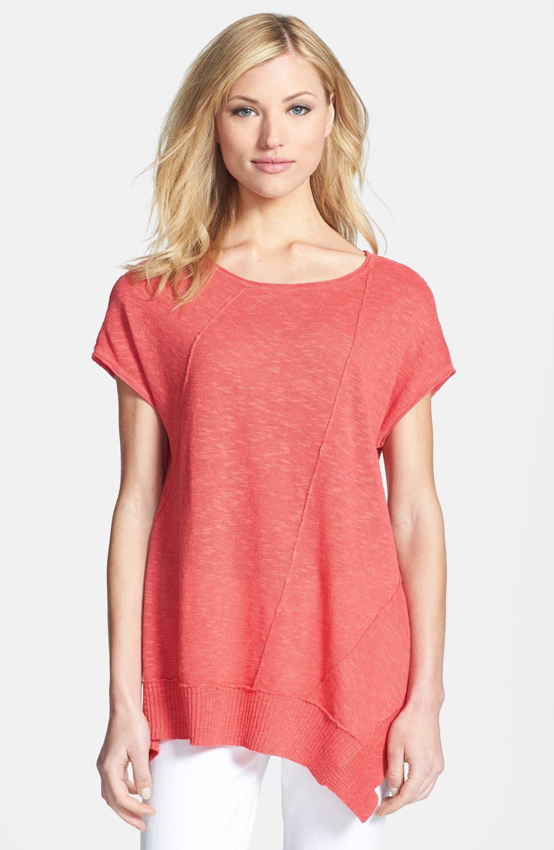 Main Image - Eileen Fisher Cap Sleeve Organic Linen & Cotton Scoop Neck Top (Regular & Petite)
