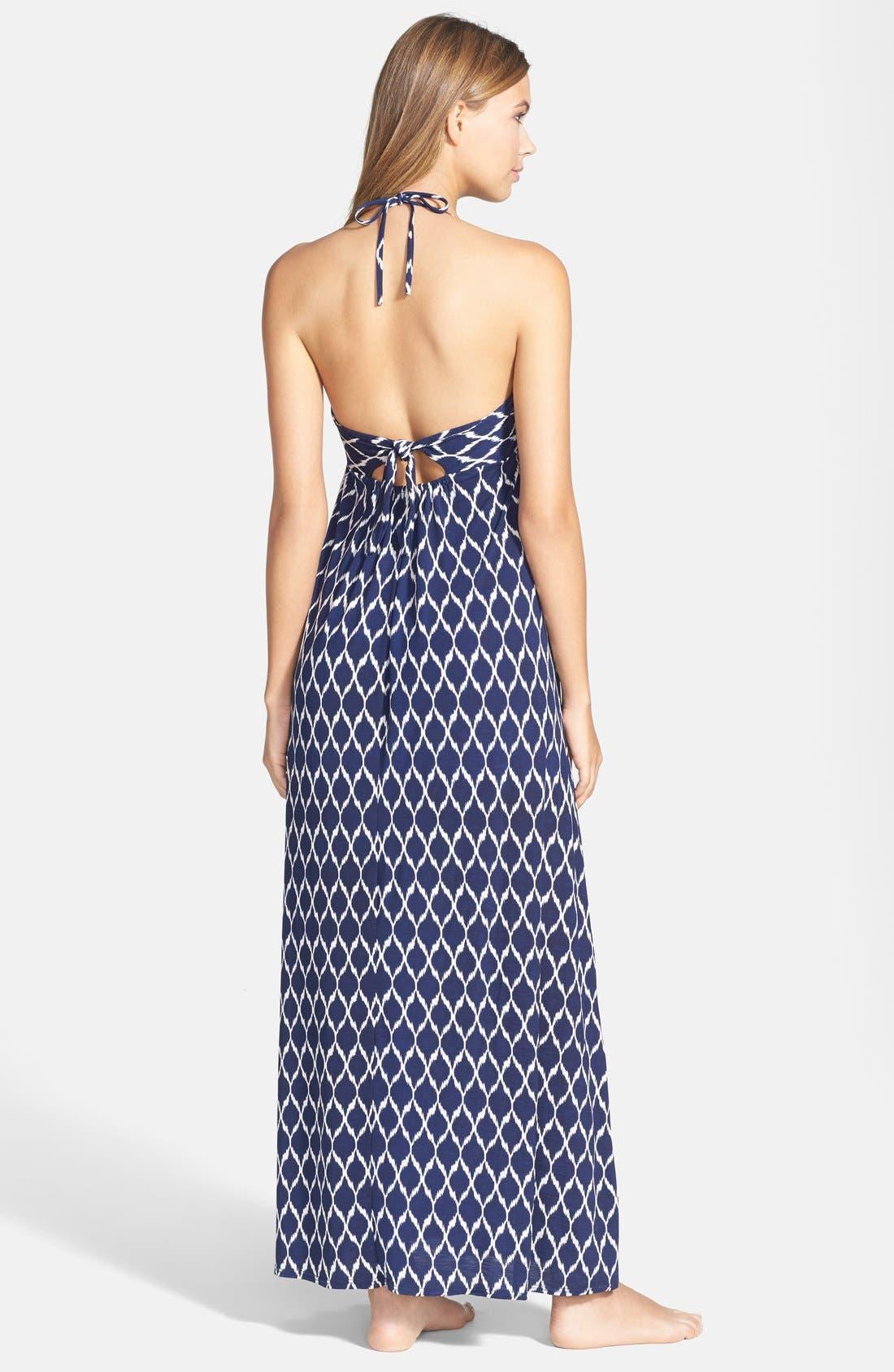 Alternate Image 2  - Robin Piccone Ikat Print Halter Cover-Up Dress