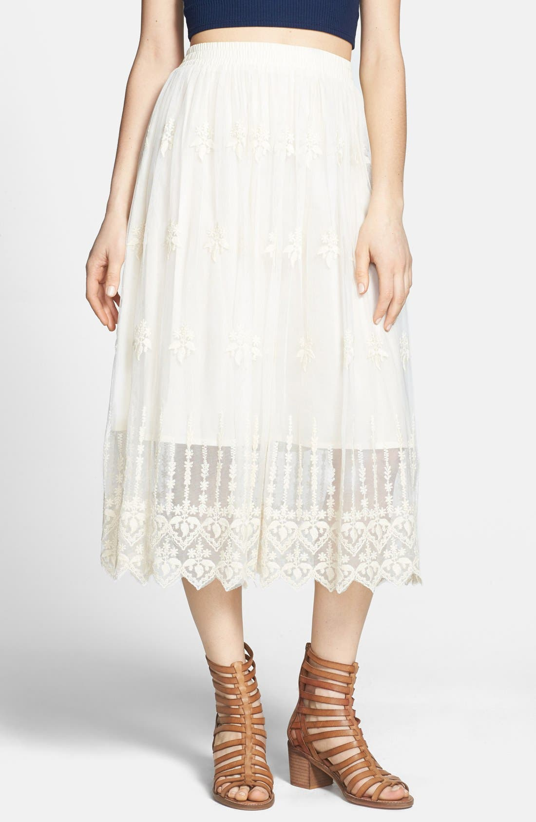 ASTR Embroidered Lace Midi Skirt,                         Main,                         color, Cream