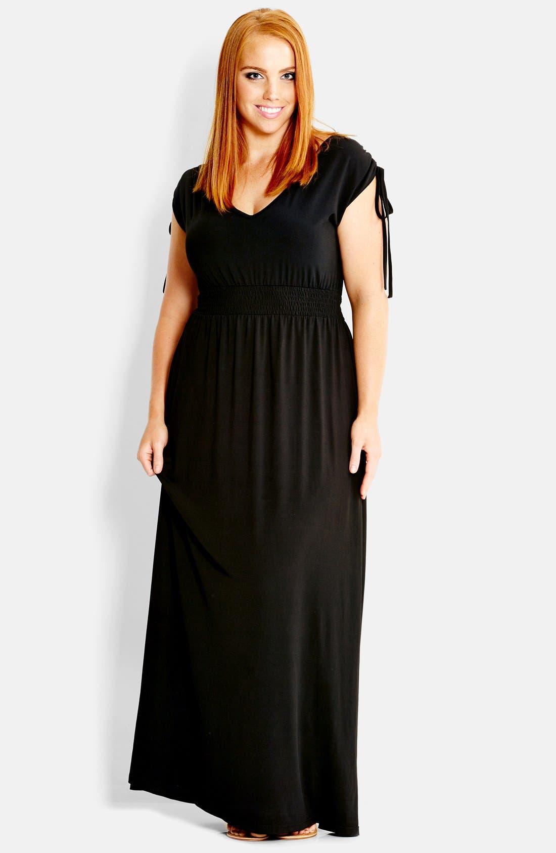 Main Image - City Chic 'Drapey' V-Neck Maxi Dress (Plus Size)