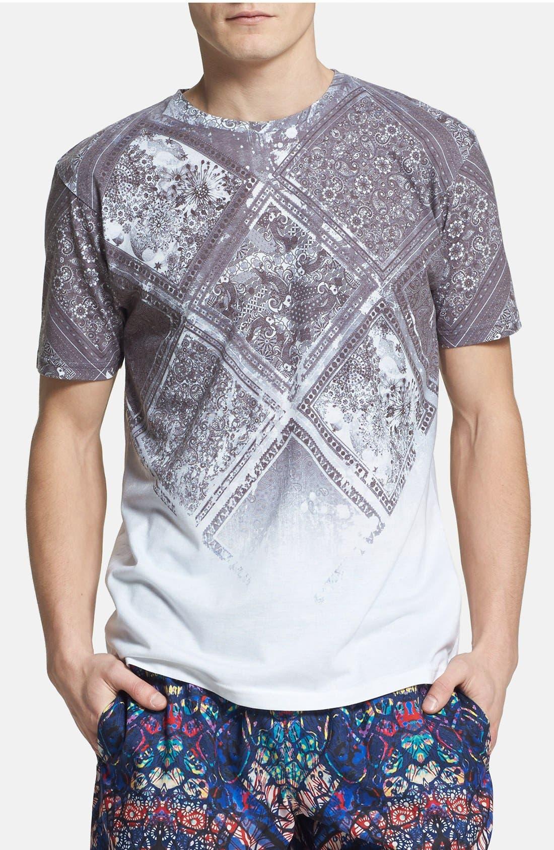 Alternate Image 1 Selected - Topman Paisley Tile Print T-Shirt