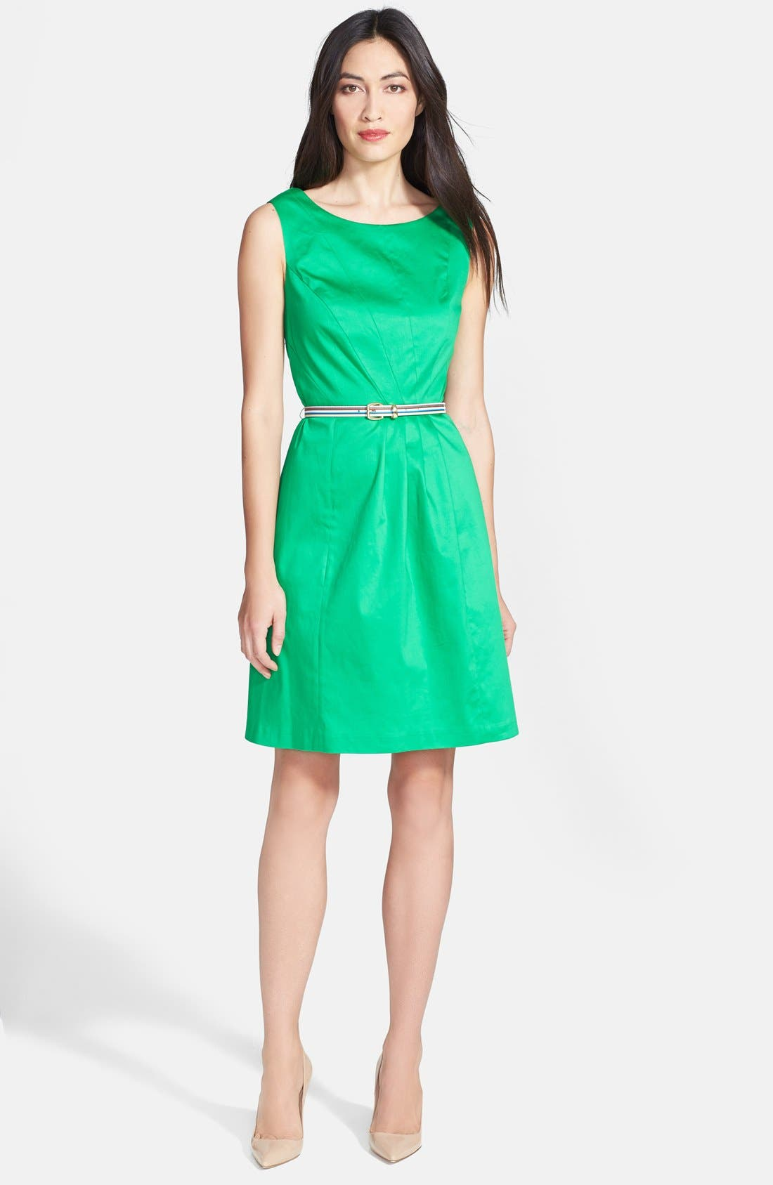 Alternate Image 2  - Ellen Tracy Sleeveless Origami Pleat Stretch Cotton Fit & Flare Dress