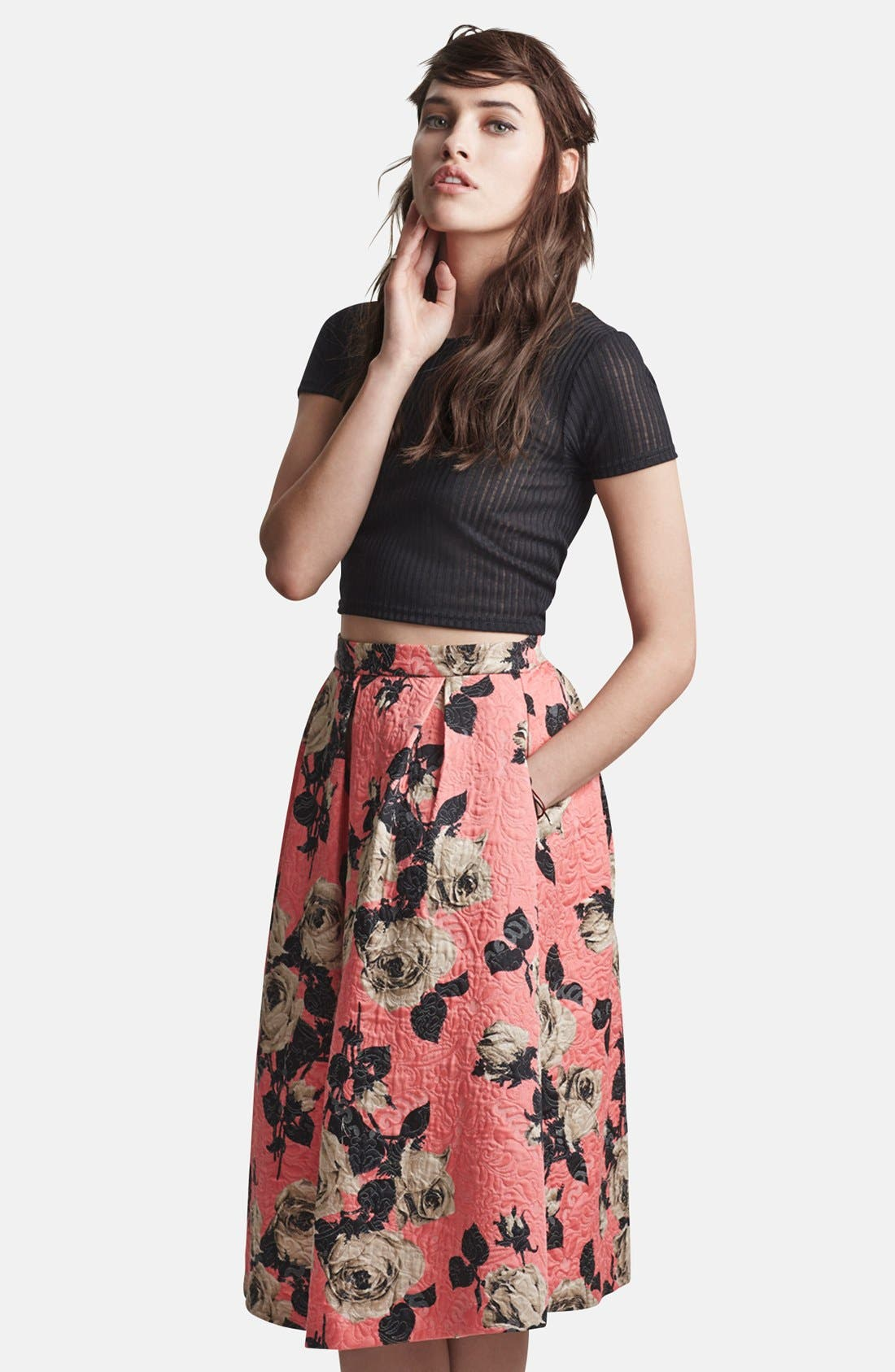 Alternate Image 5  - Topshop Textured Rose Print Midi Skirt