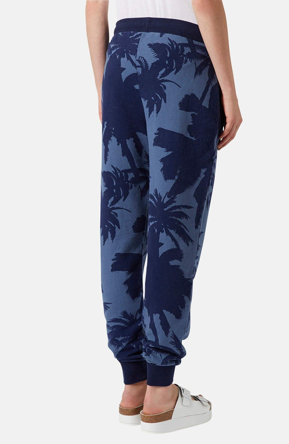 Alternate Image 2  - Topshop Palm Print Track Pants