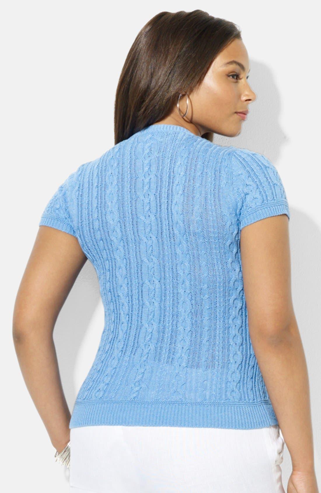 Alternate Image 2  - Lauren Ralph Lauren Button Shoulder Crewneck Cable Knit Sweater (Plus Size)