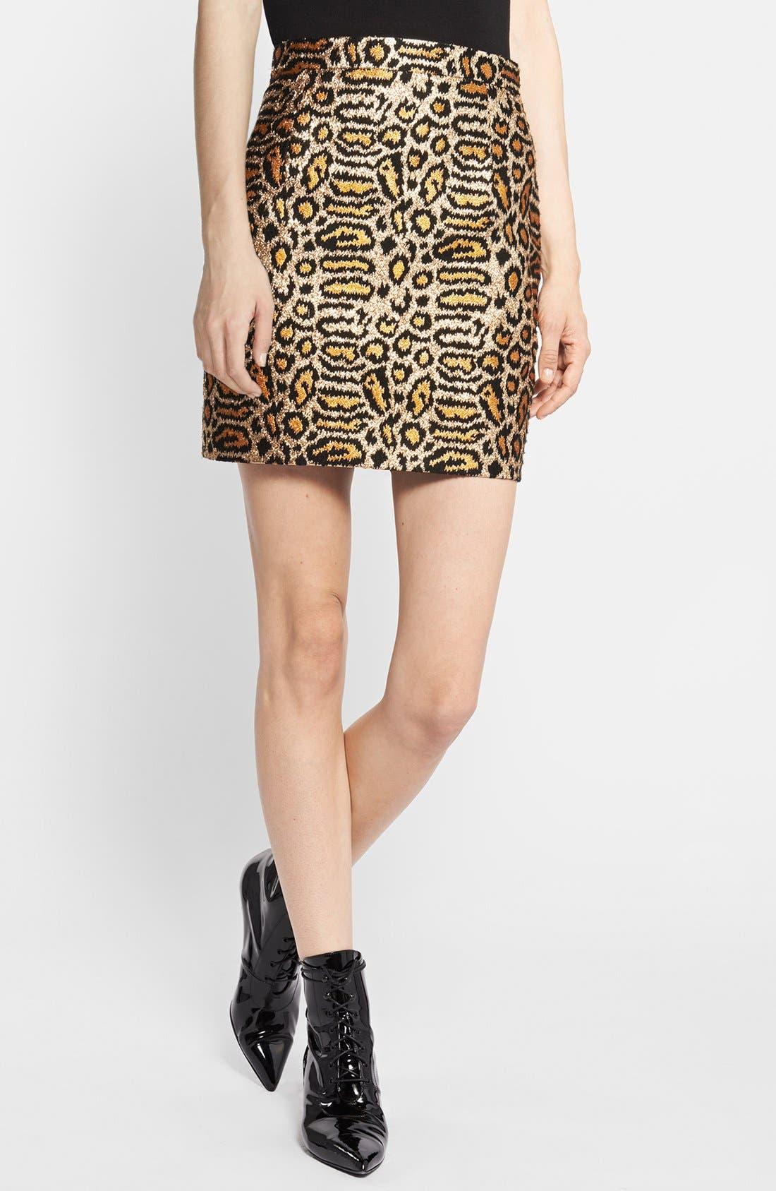 Main Image - Saint Laurent Animal Pattern Skirt
