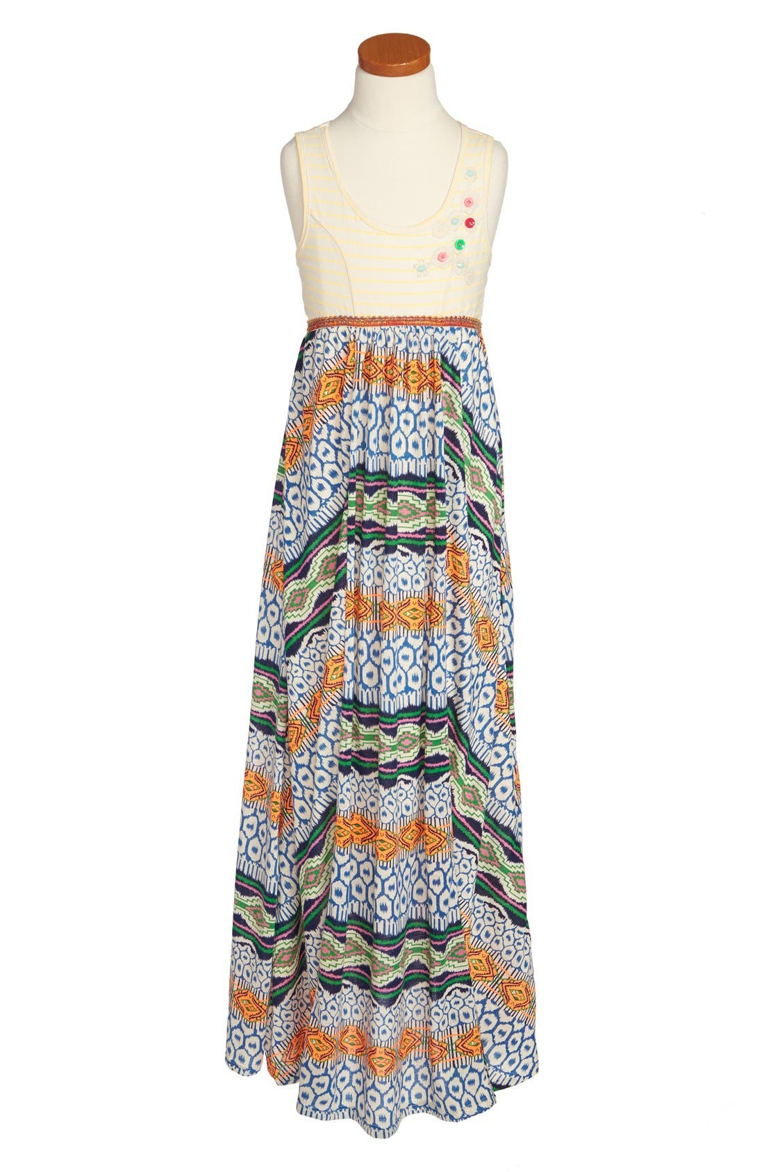 Main Image - Truly Me Mixed Media Maxi Dress (Big Girls)