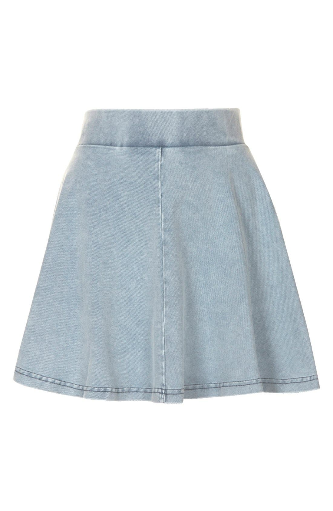 Alternate Image 3  - Topshop 'Andie' Denim Skater Skirt (Petite)