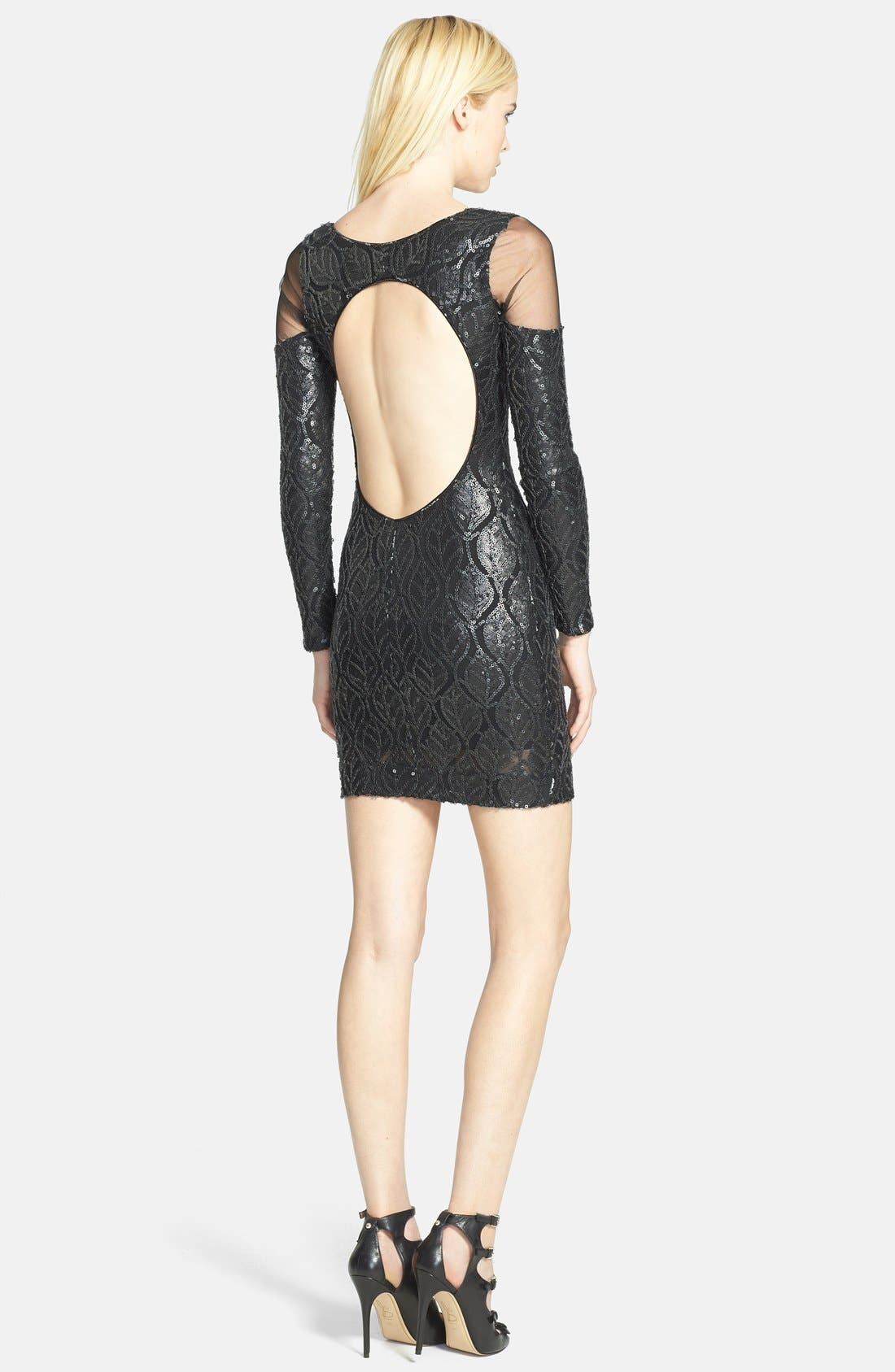 Alternate Image 2  - Dress the Population 'Jaden' Faux Leather Sequin Body-Con Dress