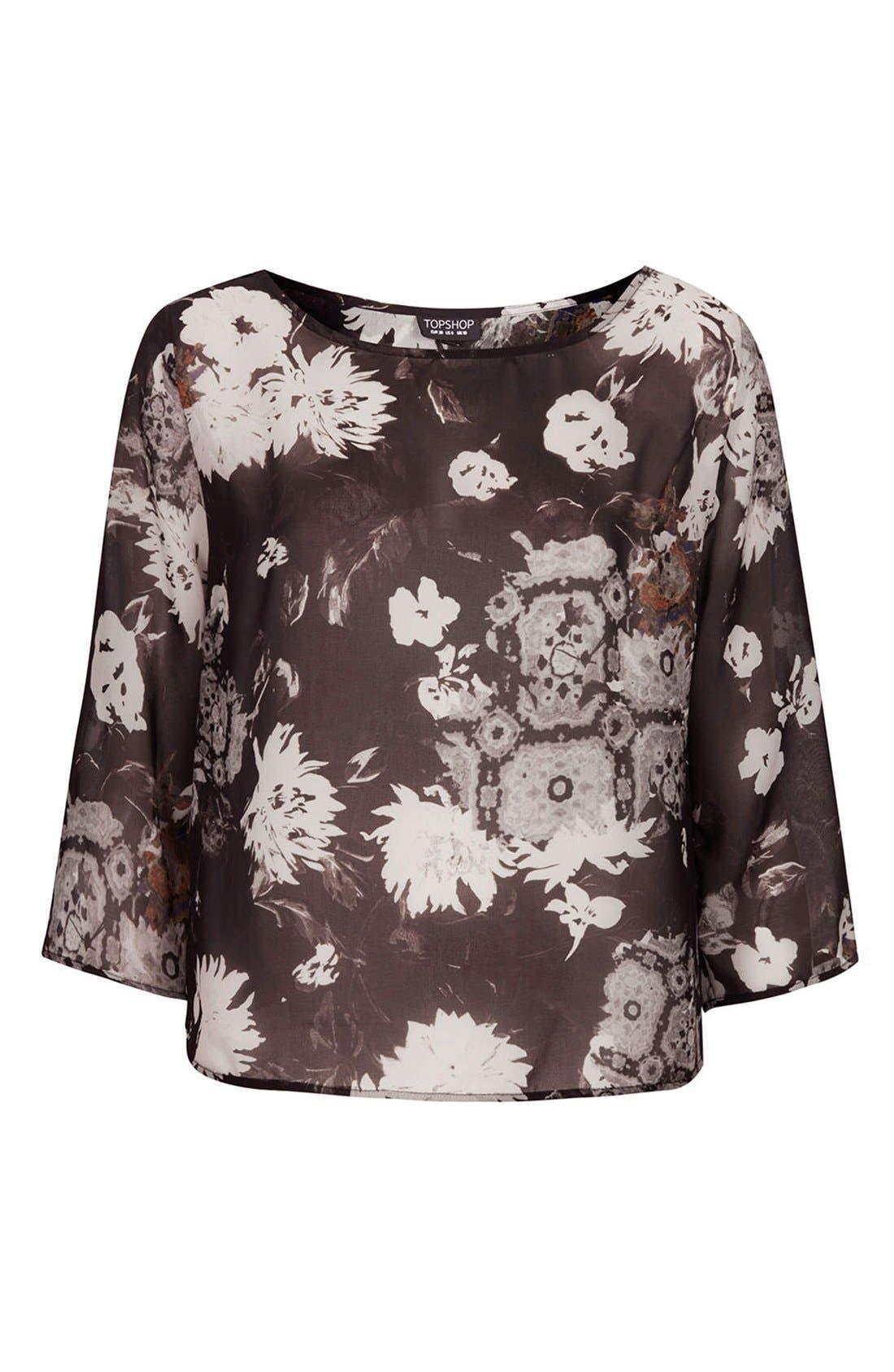Alternate Image 3  - Topshop Floral Drape Back Blouse