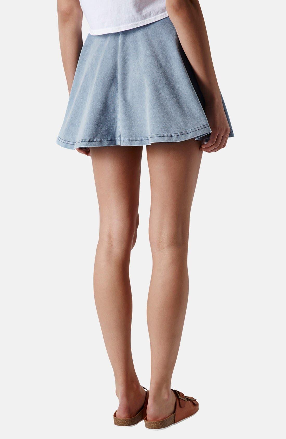 Alternate Image 2  - Topshop 'Andie' Denim Skater Skirt (Petite)