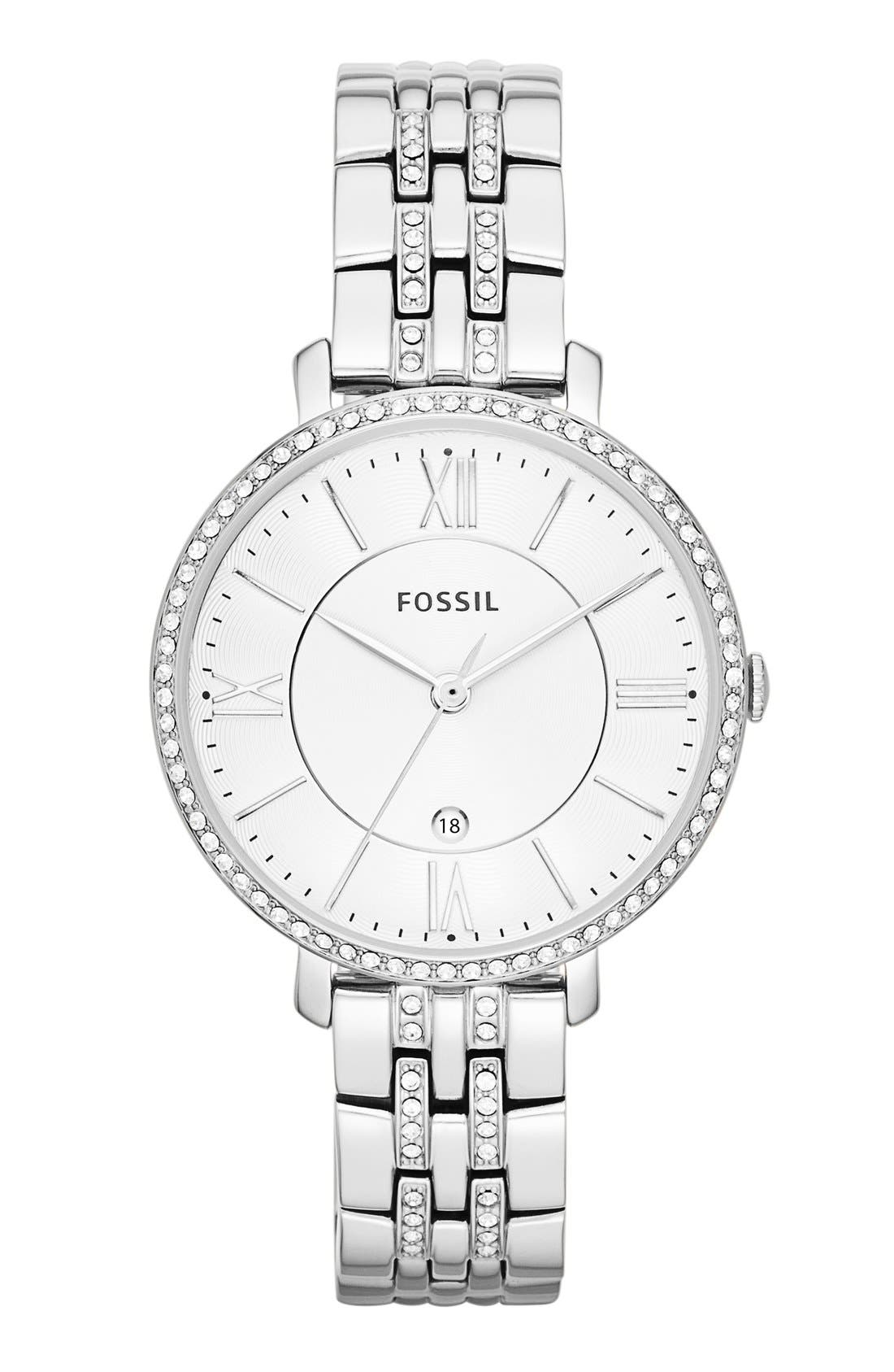 Alternate Image 1 Selected - Fossil 'Jacqueline' Crystal Bezel Bracelet Watch, 36mm