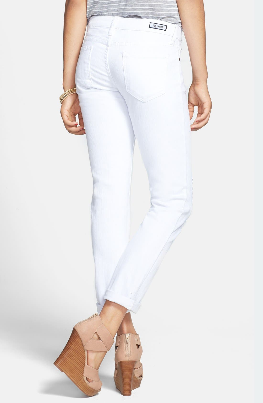 Alternate Image 2  - STS Blue Destroyed Slim Boyfriend Jeans (White) (Juniors)