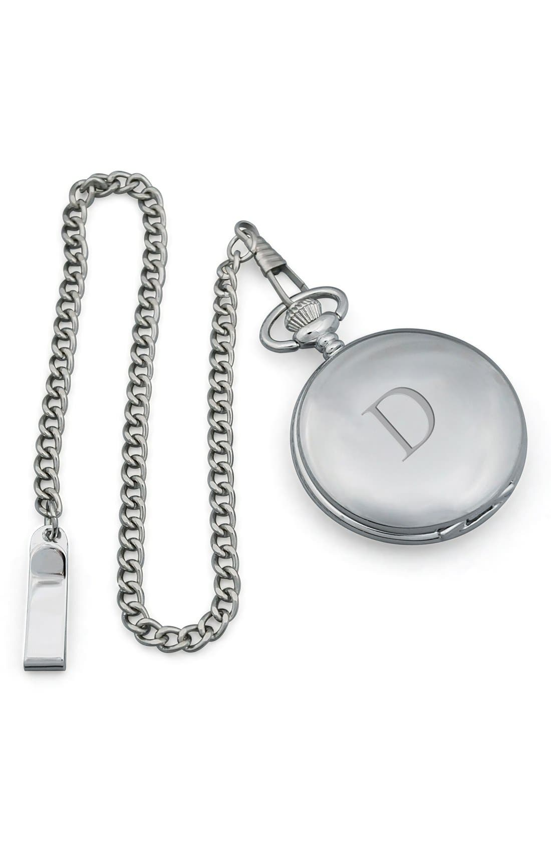 Main Image - Cathy's Concepts Silver Plate Monogram Pocket Watch, 44mm