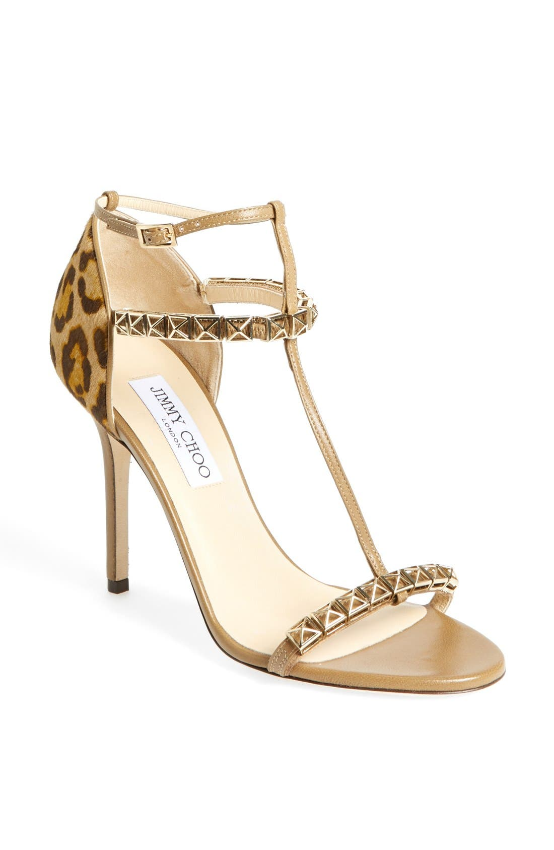 Main Image - Jimmy Choo 'Flint' Studded T-Strap Calf Hair Sandal