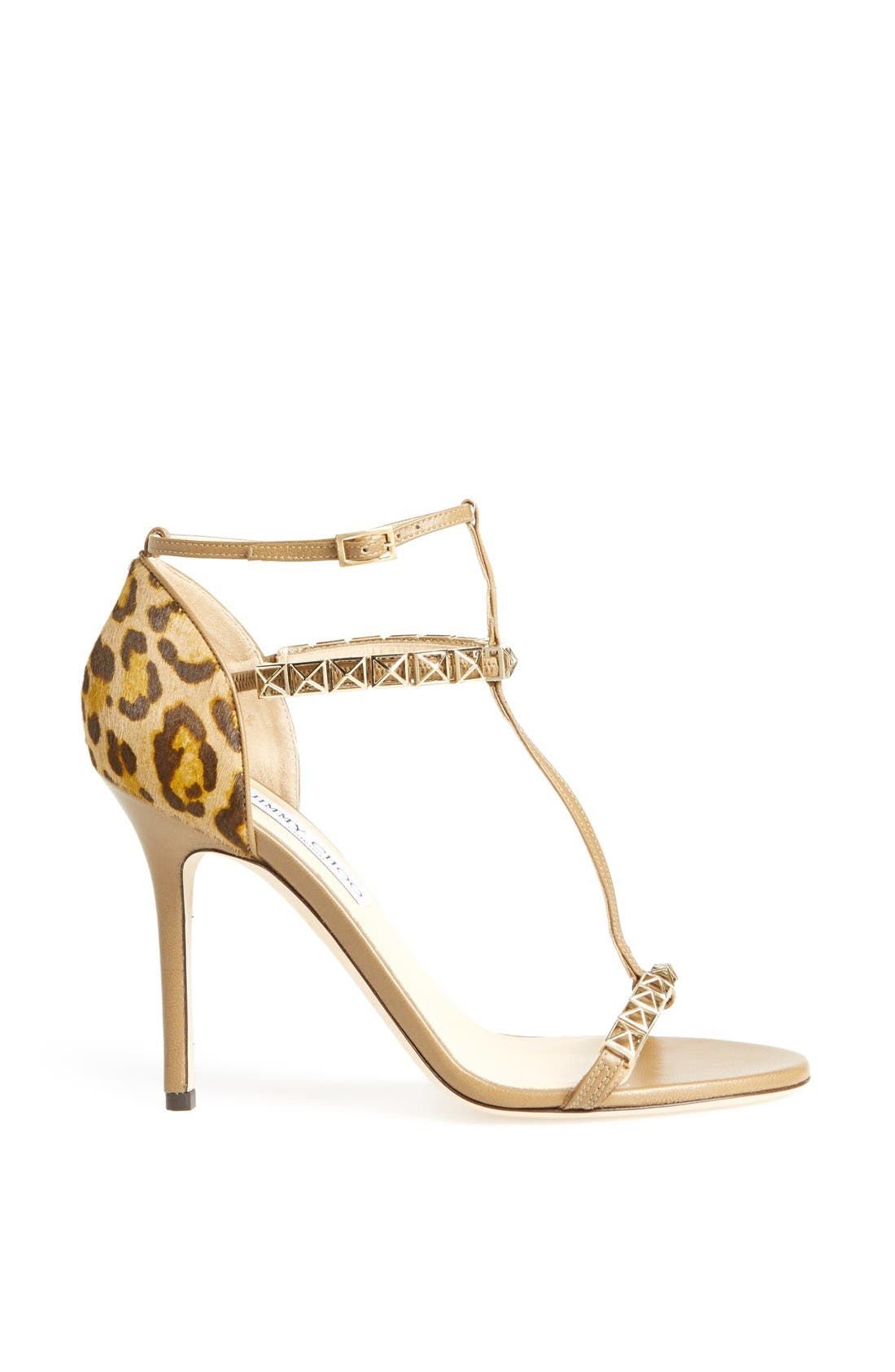Alternate Image 4  - Jimmy Choo 'Flint' Studded T-Strap Calf Hair Sandal