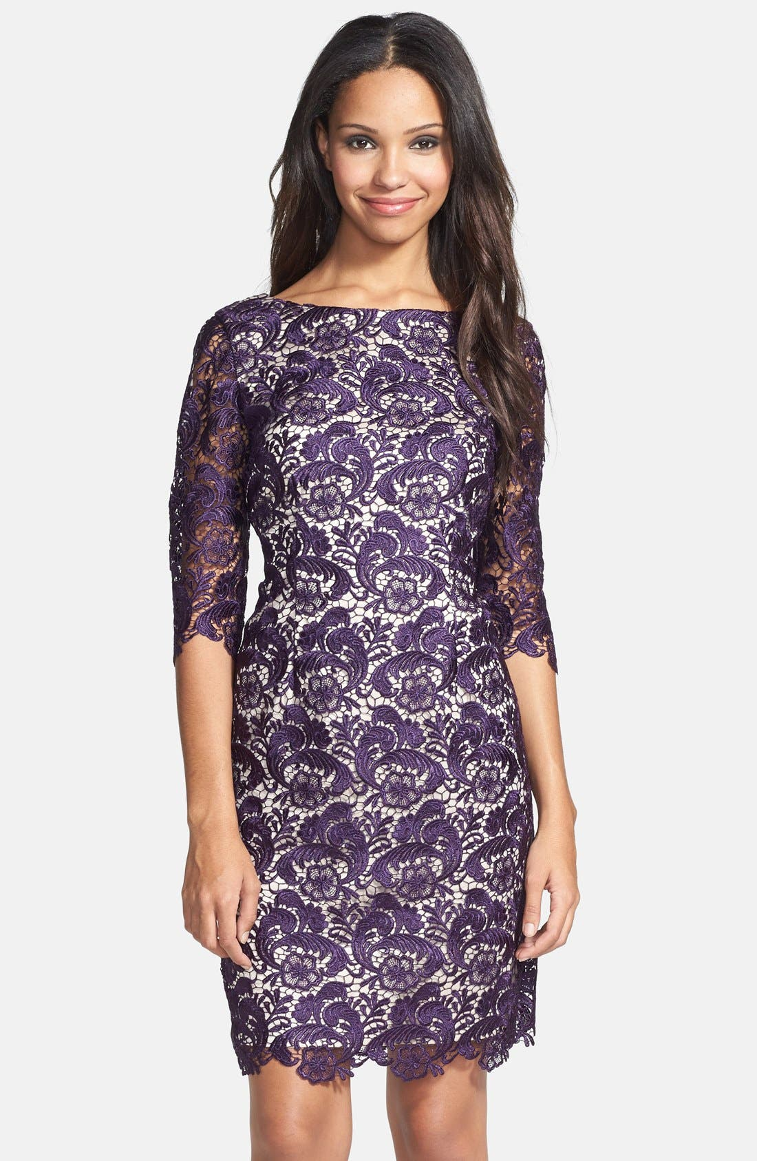 Main Image - Eliza J Embroidered Lace Overlay Sheath Dress (Regular & Petite)