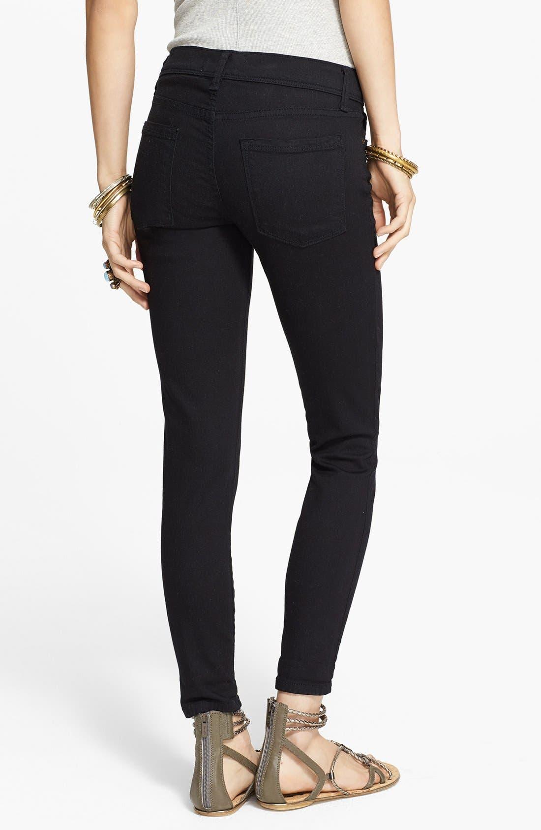 'Roller' Crop Skinny Jeans,                             Alternate thumbnail 2, color,                             Black
