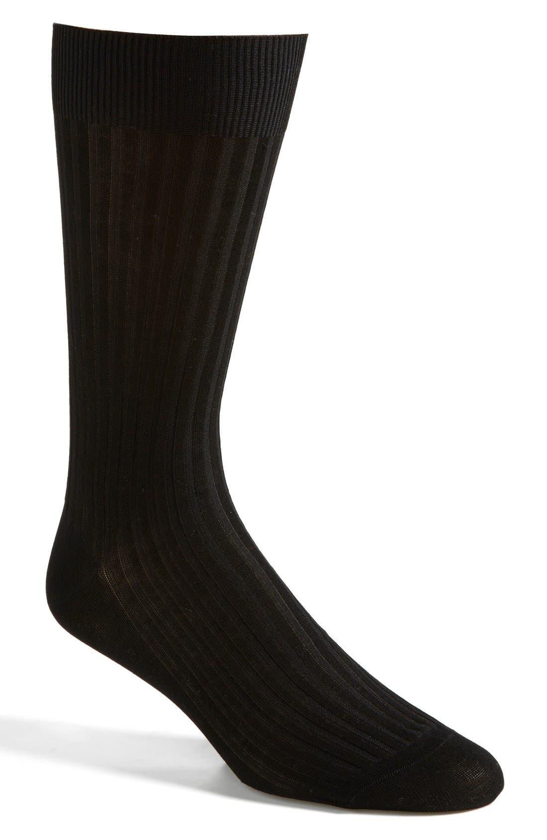 Cotton Blend Mid Calf Dress Socks,                         Main,                         color, Black 08