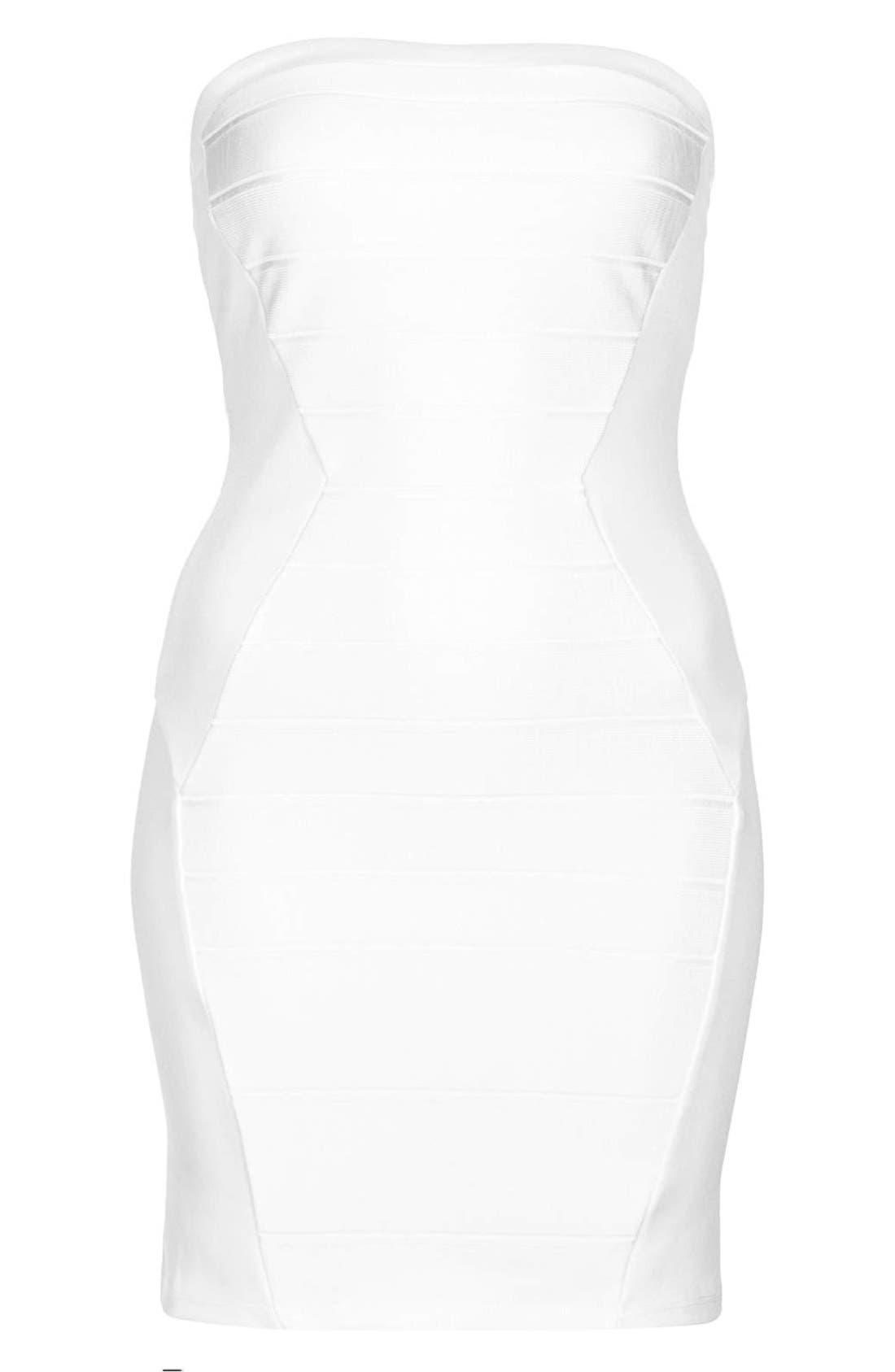 Alternate Image 3  - Topshop Strapless Satin Body-Con Dress (Petite)