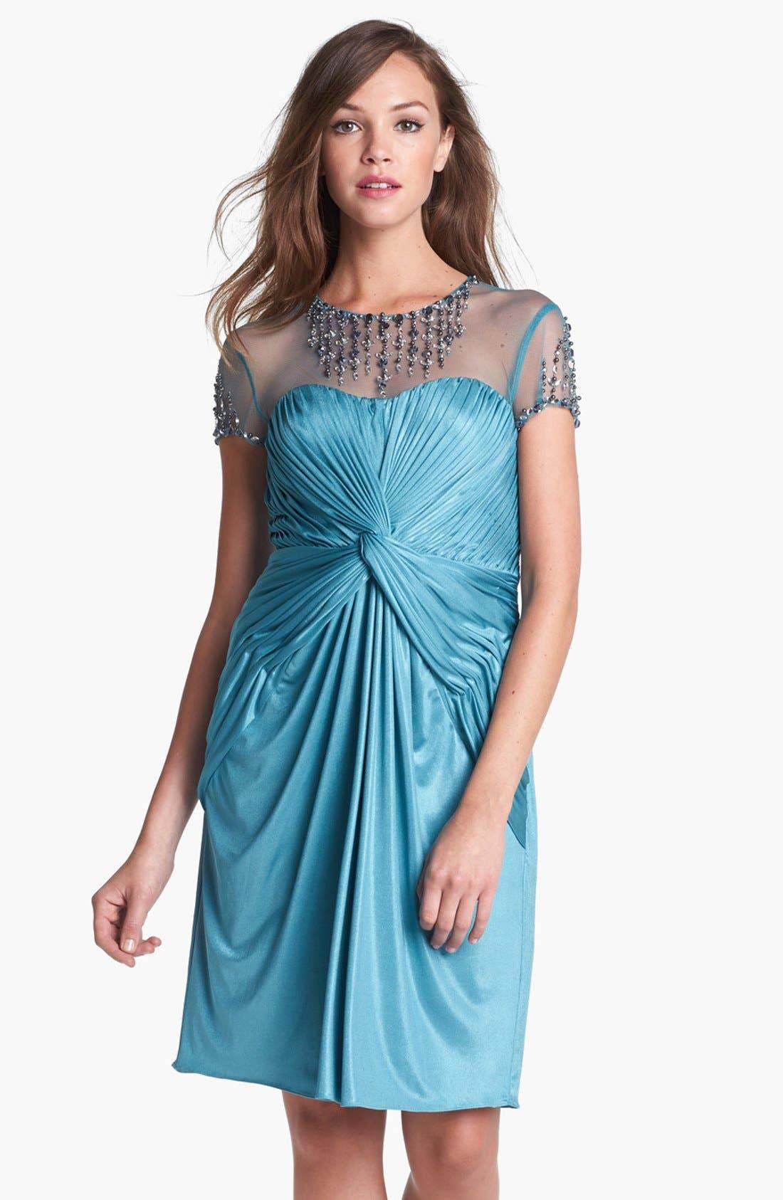 Main Image - Adrianna Papell Embellished Front Twist Jersey Sheath Dress
