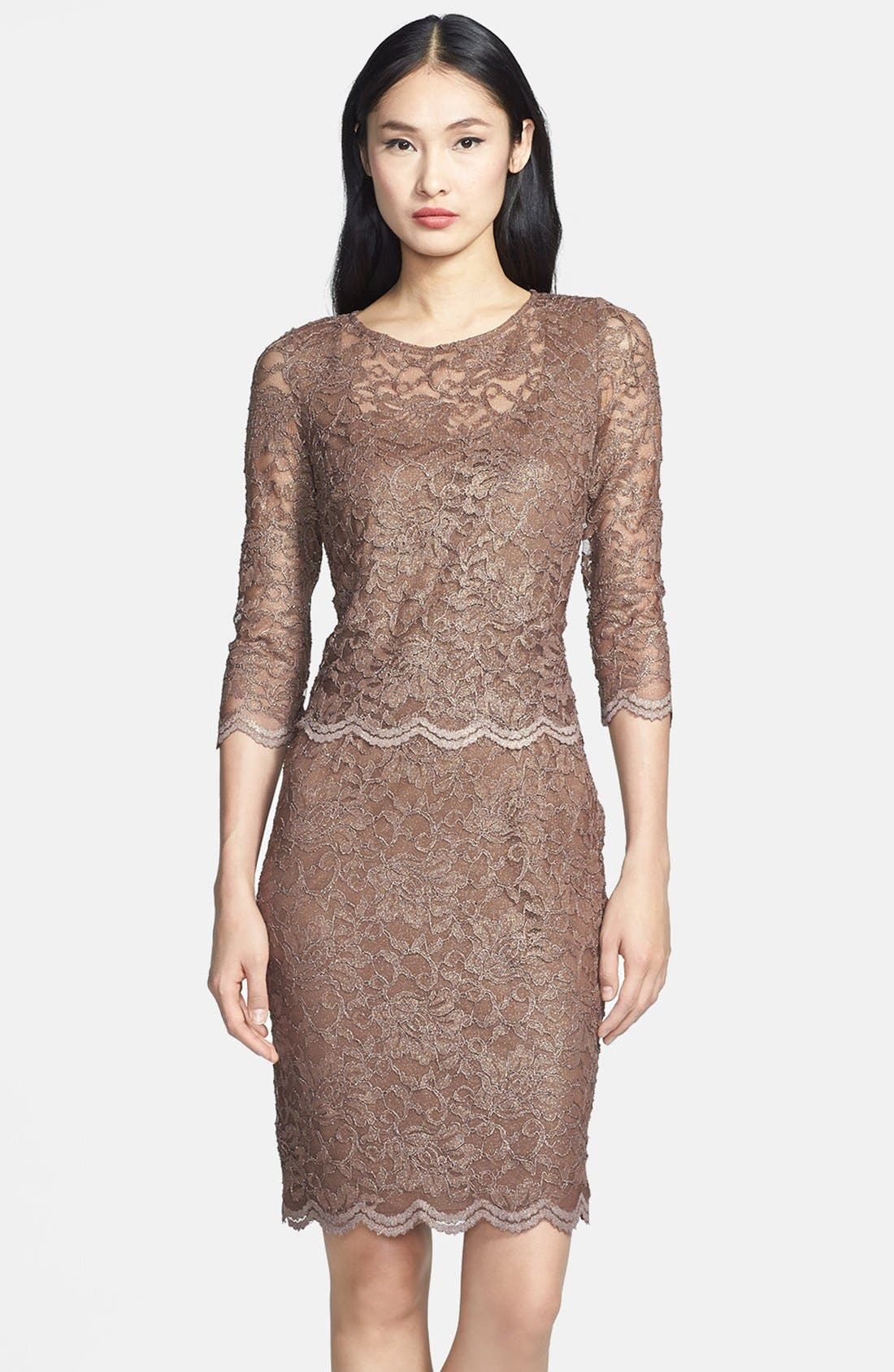 Alternate Image 1 Selected - Alex Evenings Mock Two-Piece Lace Sheath Dress