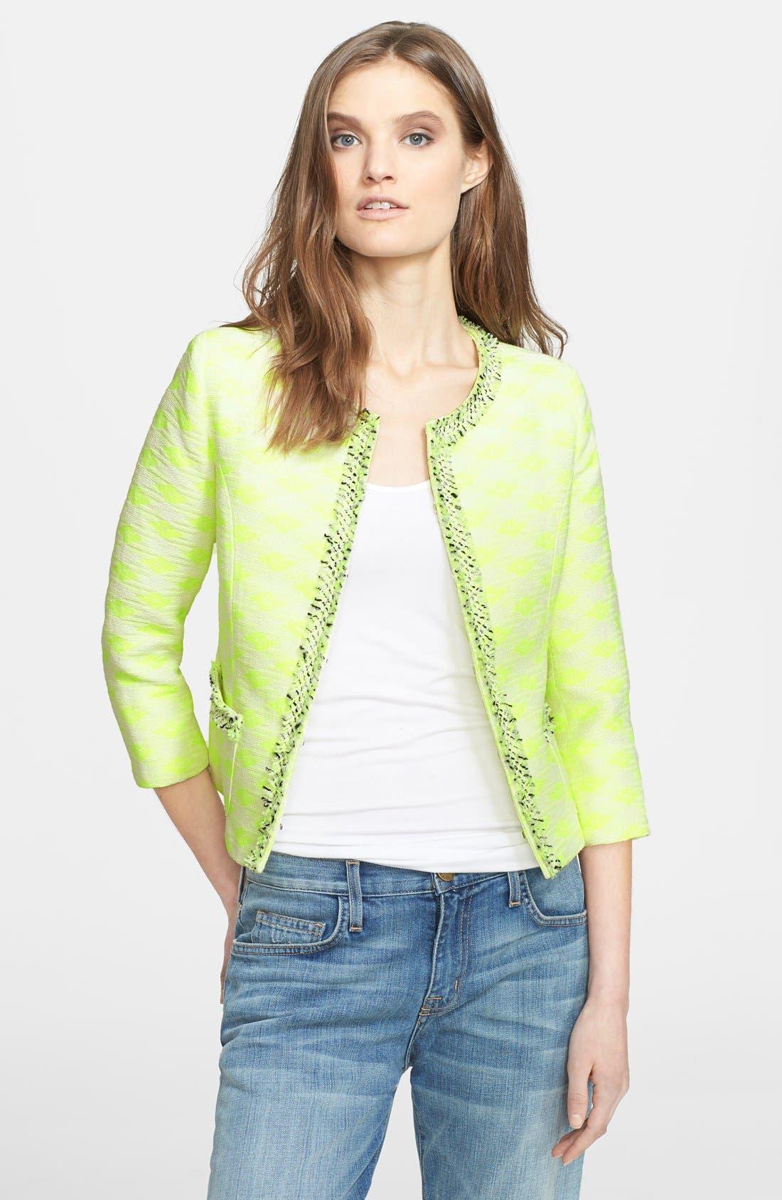'Jana' Diamond Woven Jacket,                         Main,                         color, Neon Yellow