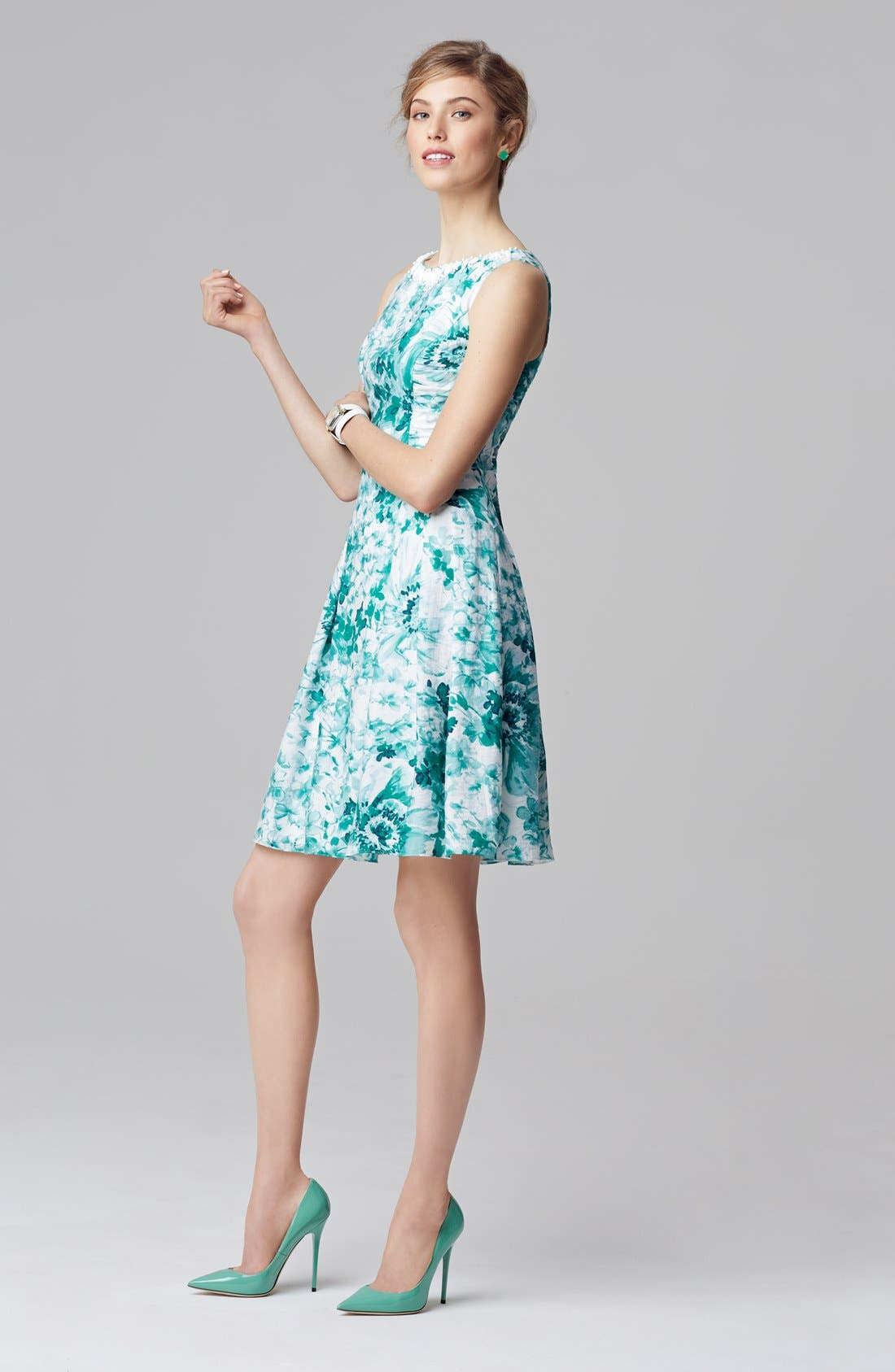 Alternate Image 5  - Adrianna Papell Beaded Neck Floral Print Fit & Flare Dress