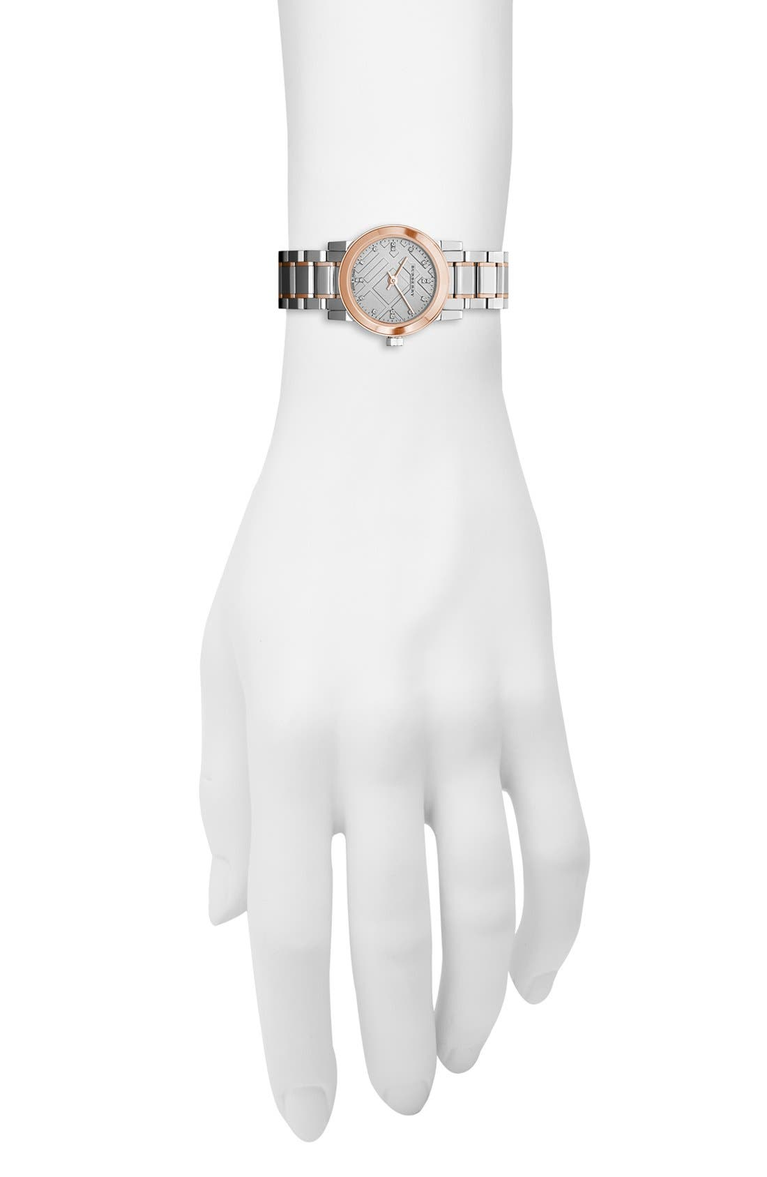 Alternate Image 3  - Burberry Small Diamond Dial Bracelet Watch, 26mm