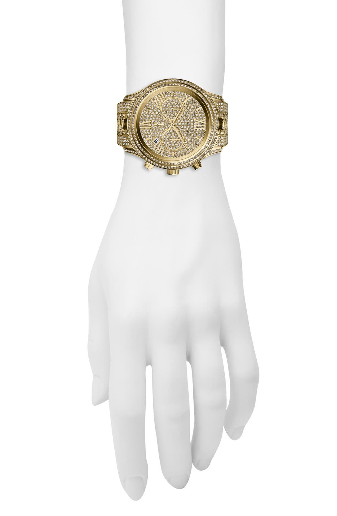 Alternate Image 4  - Michael Kors 'Lindley' Pavé Chronograph Bracelet Watch, 48mm