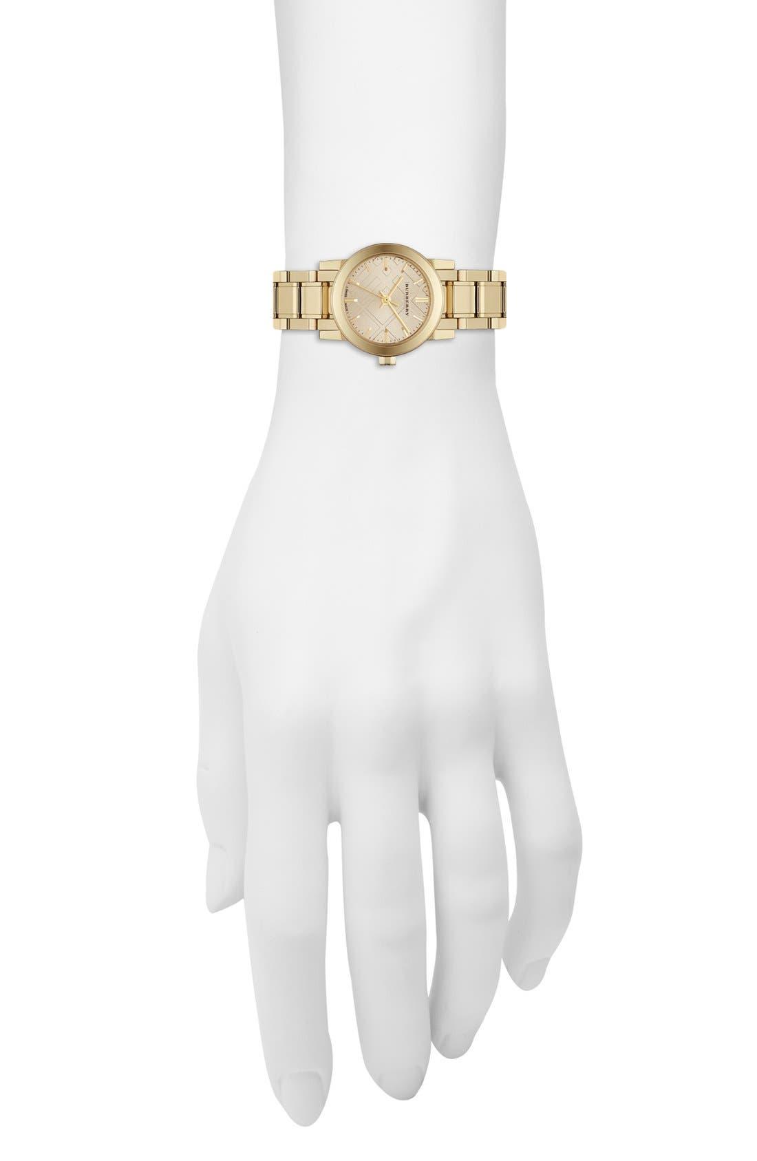Alternate Image 5  - Burberry Check Stamped Round Bracelet Watch, 26mm