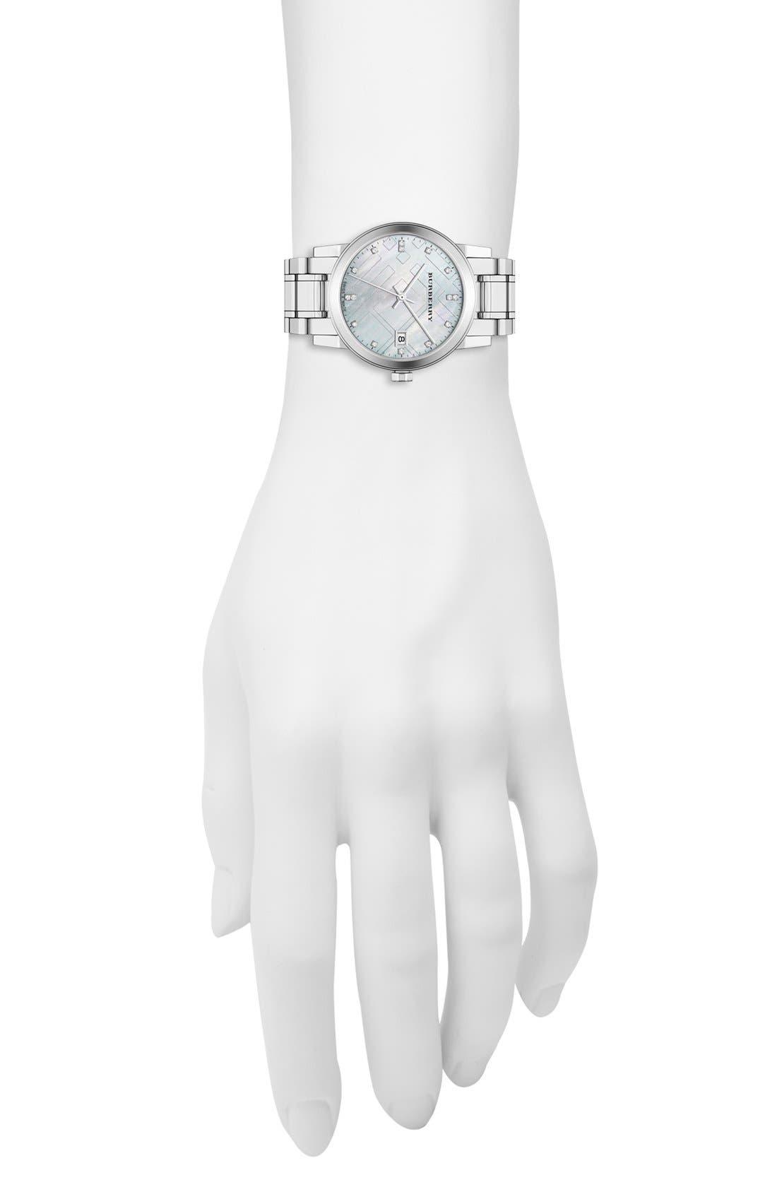 Alternate Image 5  - Burberry Round Diamond Dial Bracelet Watch, 34mm
