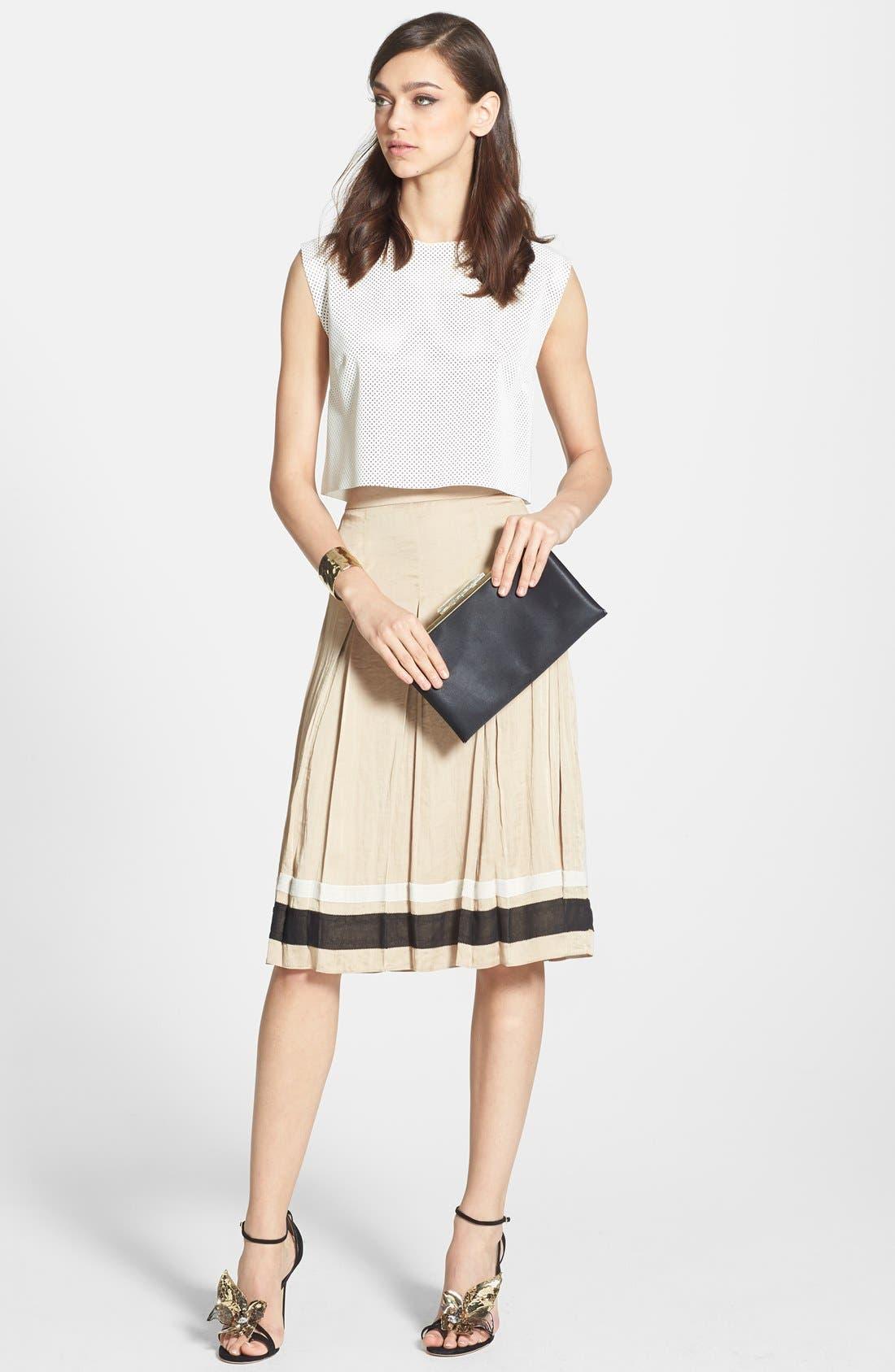 Alternate Image 4  - Chelsea28 Ribbon Trim Pleated Skirt