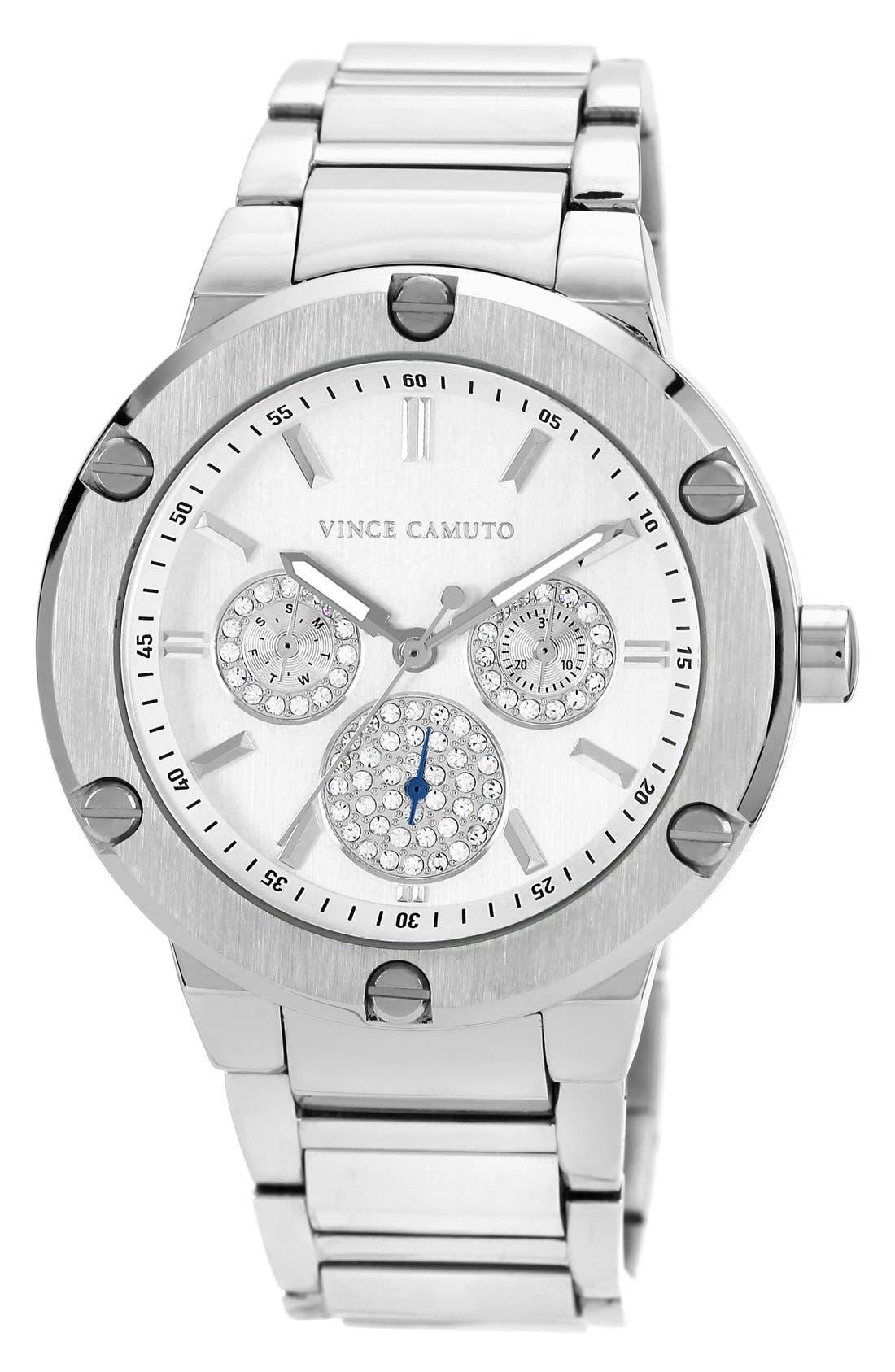 Main Image - Vince Camuto Crystal Multifunction Bracelet Watch, 42mm