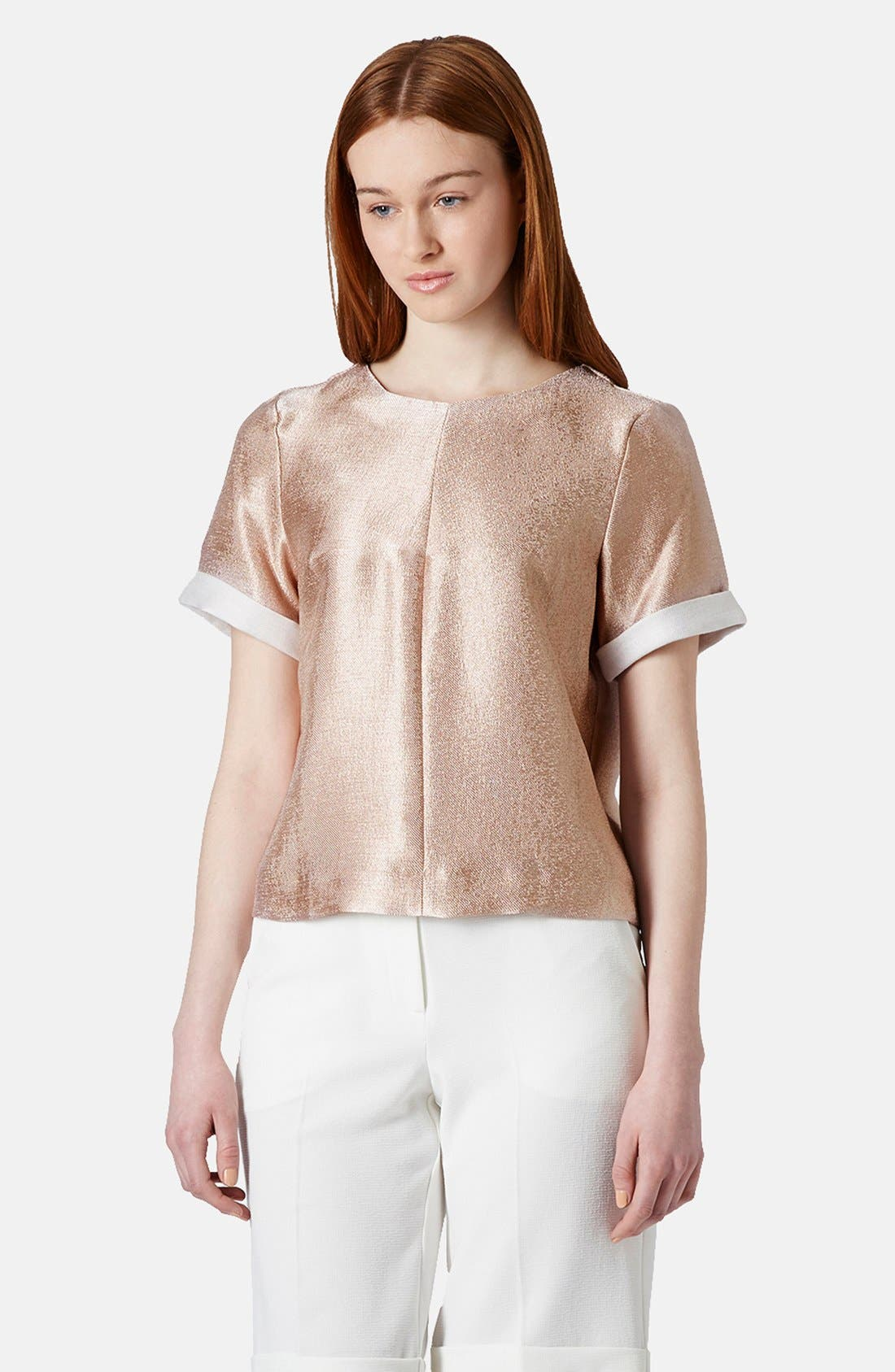 Main Image - Topshop Textured Metallic Tee