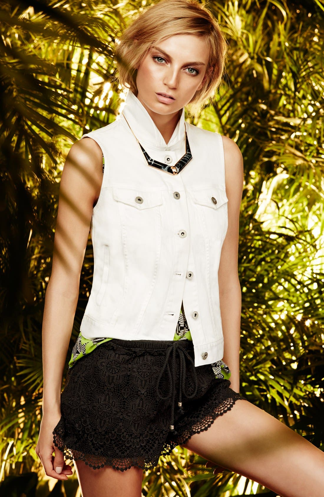 Alternate Image 1 Selected - Two by Vince Camuto Denim Vest, Woven Tank & Lace Shorts