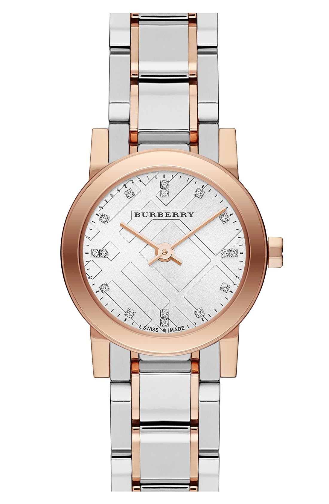 Alternate Image 1 Selected - Burberry Small Diamond Dial Bracelet Watch, 26mm