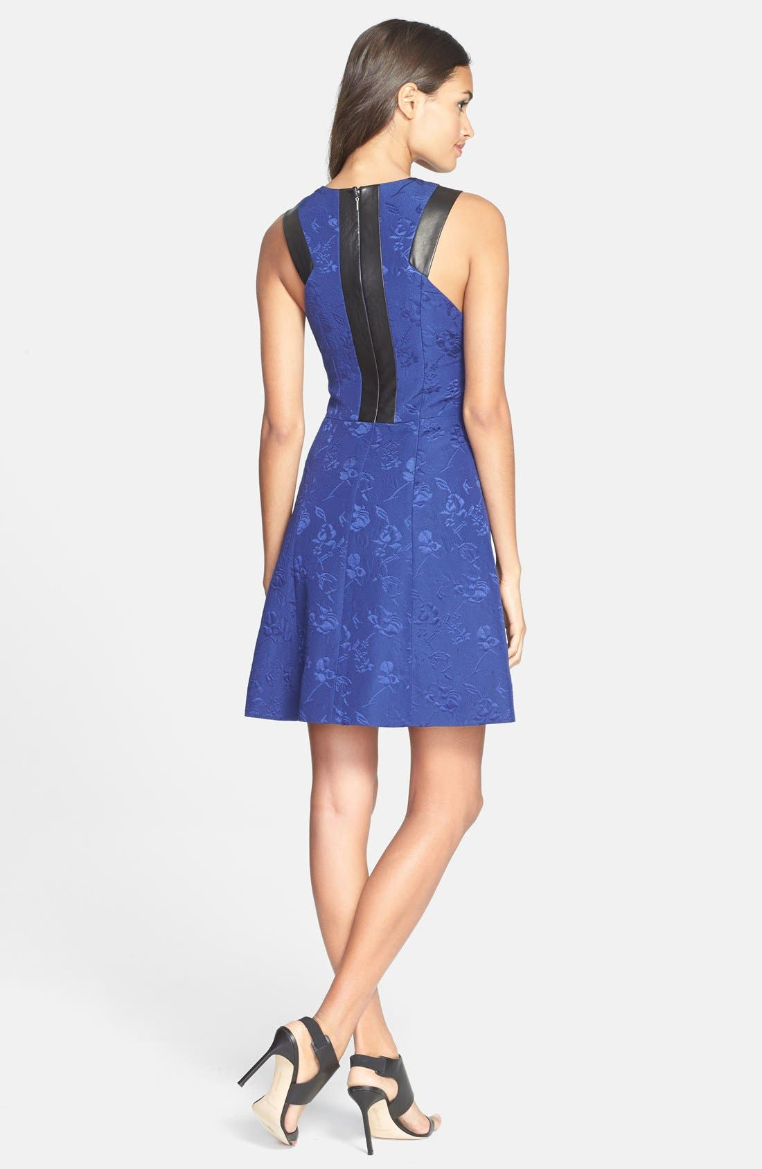 Alternate Image 2  - Rebecca Taylor Leather Trim Quilted Fit & Flare Dress