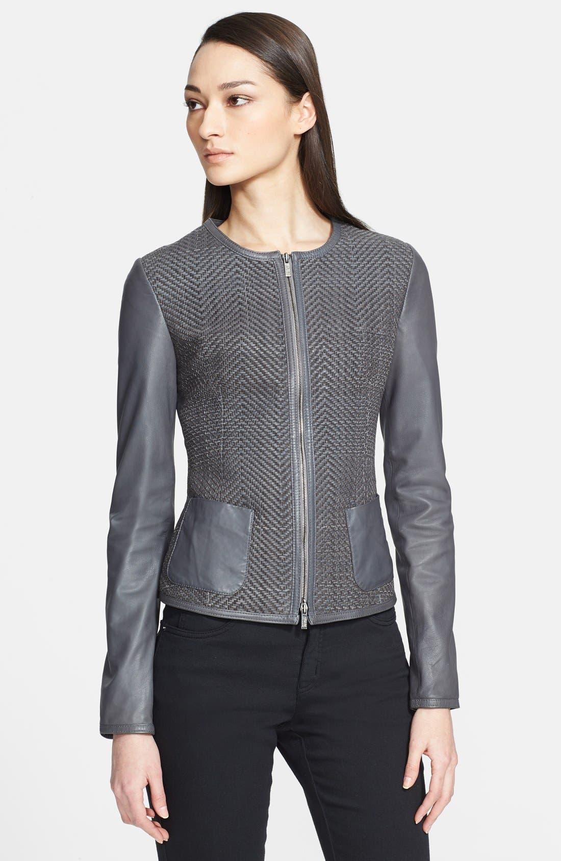 Alternate Image 1 Selected - Armani Collezioni Hand Woven Leather Jacket