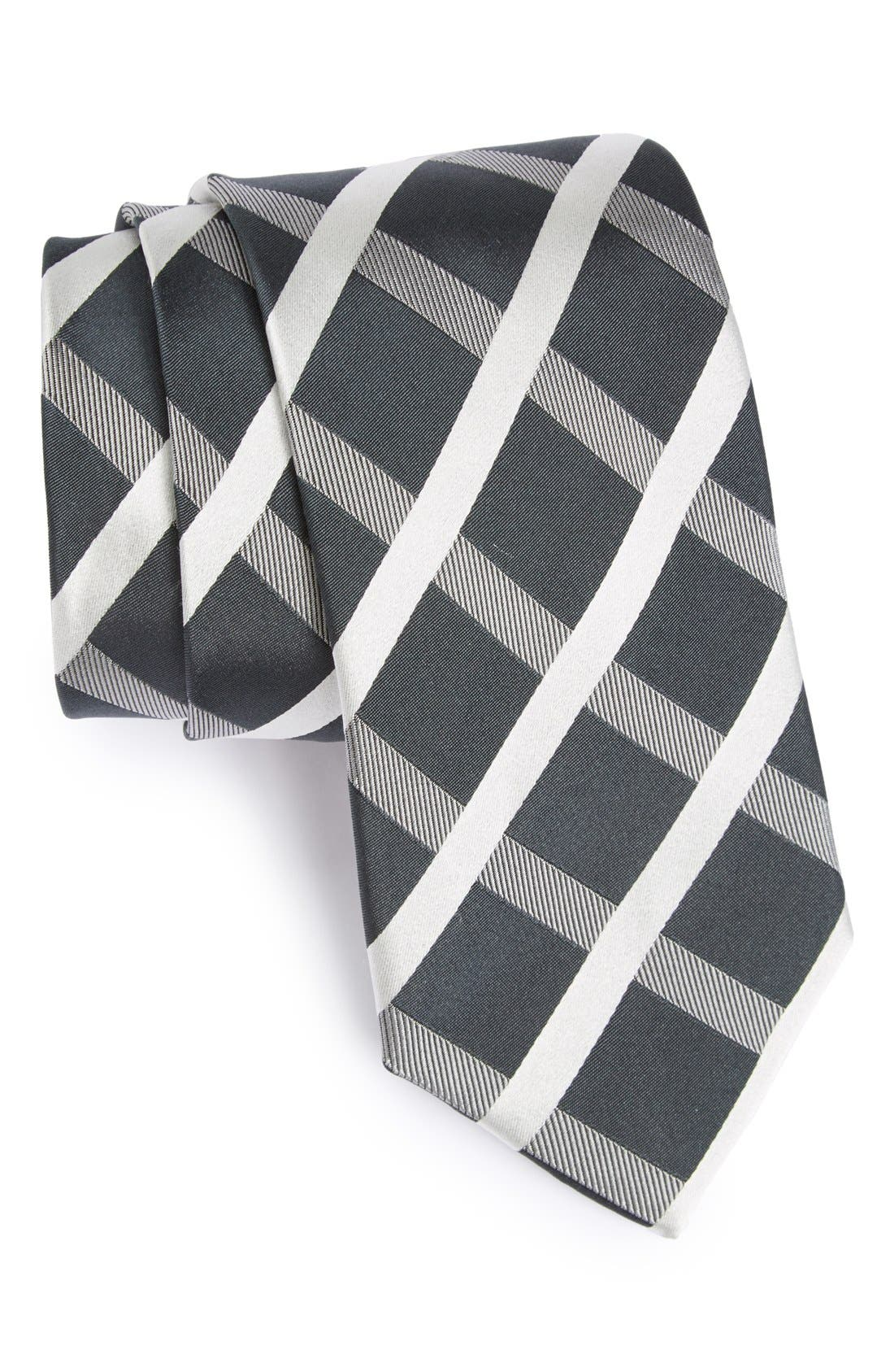 Alternate Image 1 Selected - Bugatchi Grid Silk Tie