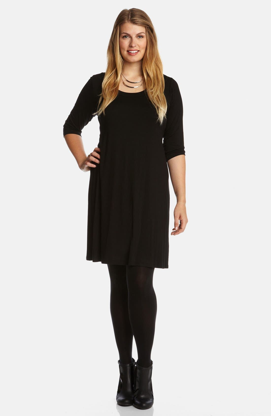Scoop Neck Jersey Dress,                             Main thumbnail 1, color,                             Black