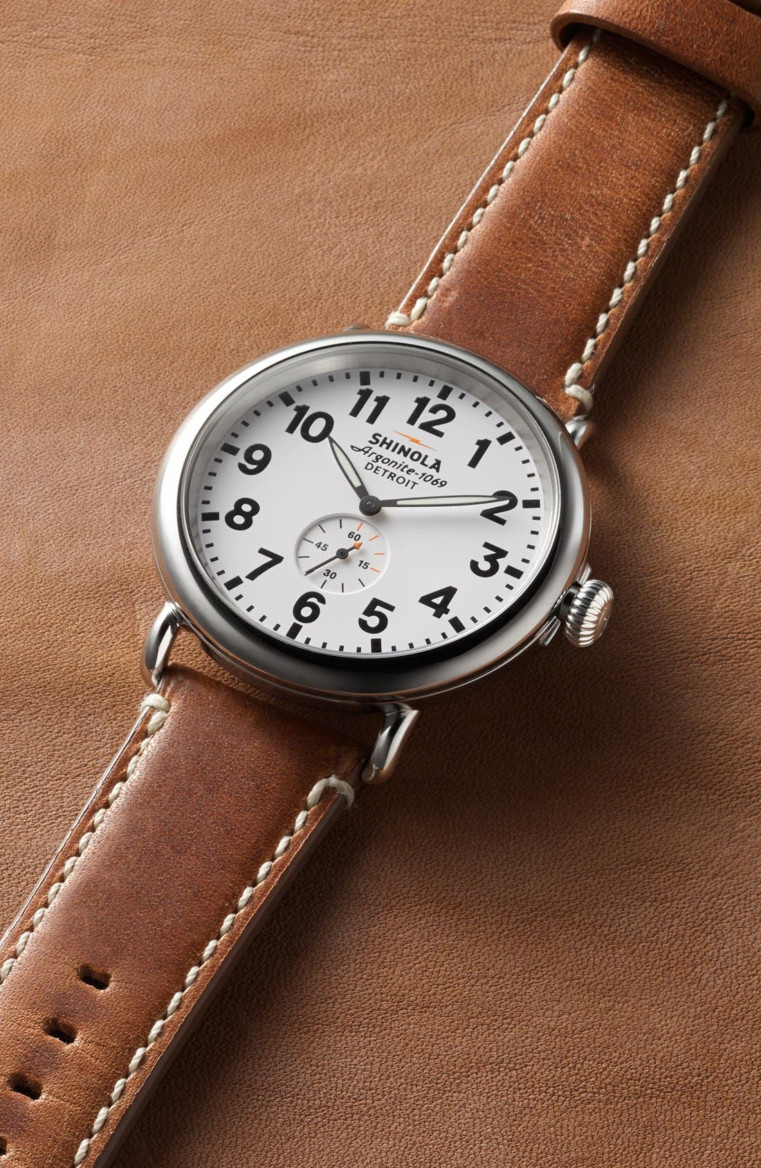 Alternate Image 4  - Shinola 'The Runwell' Leather Strap Watch, 47mm