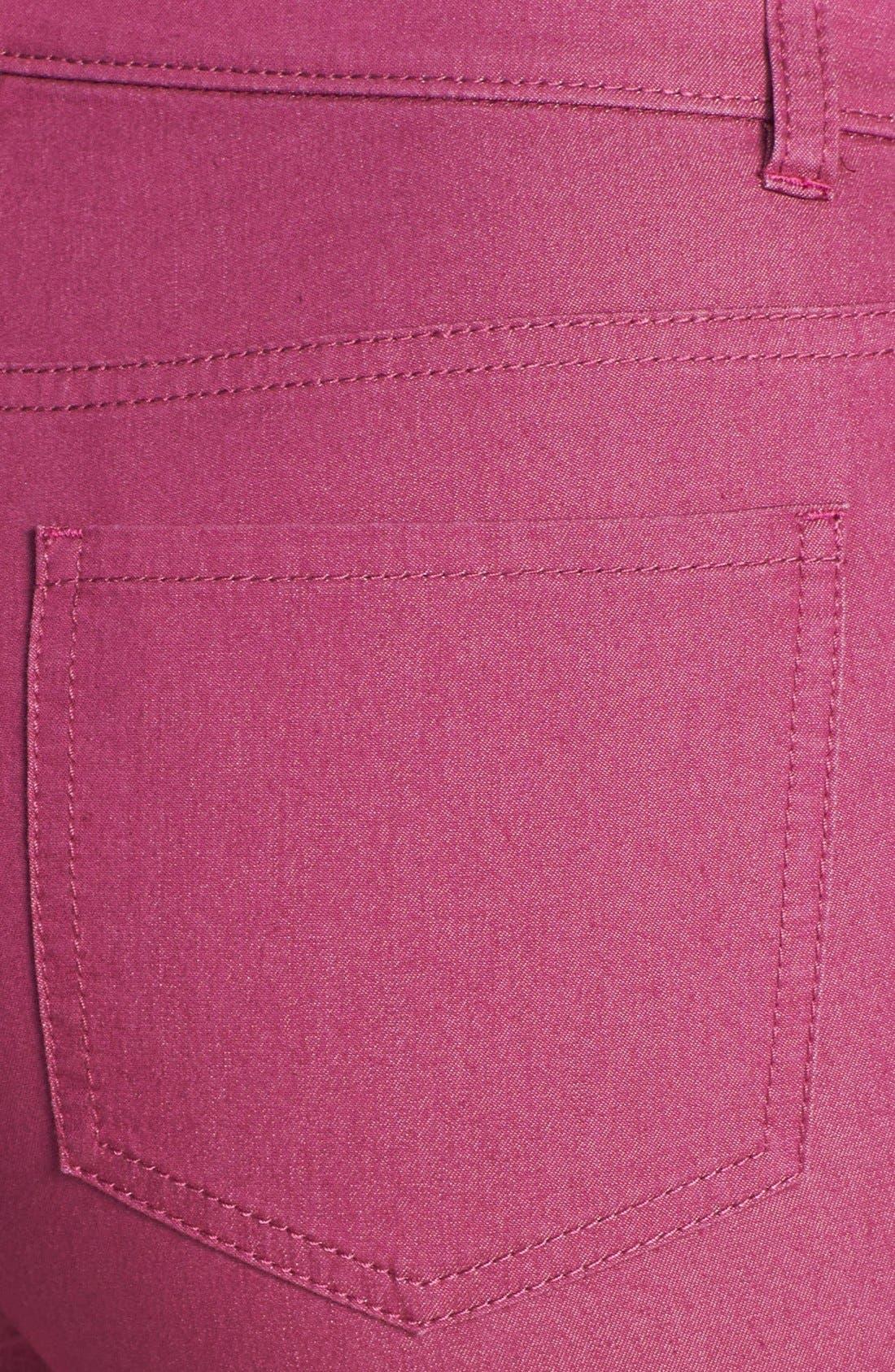 Alternate Image 3  - Lafayette 148 New York Cuffed Colored Stretch Denim Crop Jeans