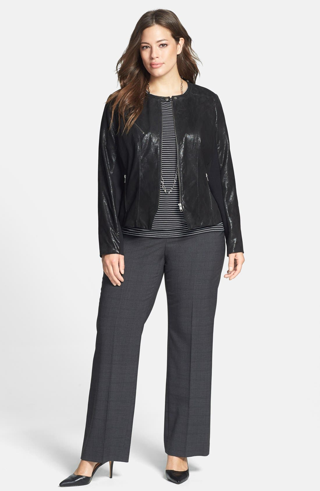 Alternate Image 3  - Halogen® Front Zip Leather Jacket (Plus Size) (Online Only)