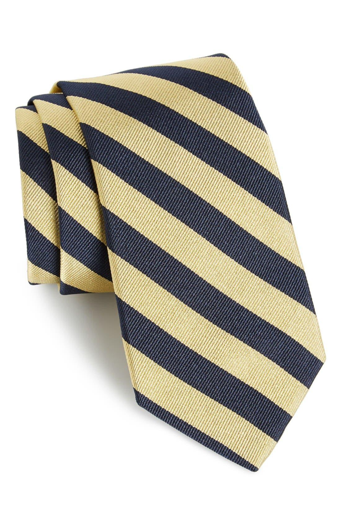 Stripe Silk Tie,                         Main,                         color, Gold