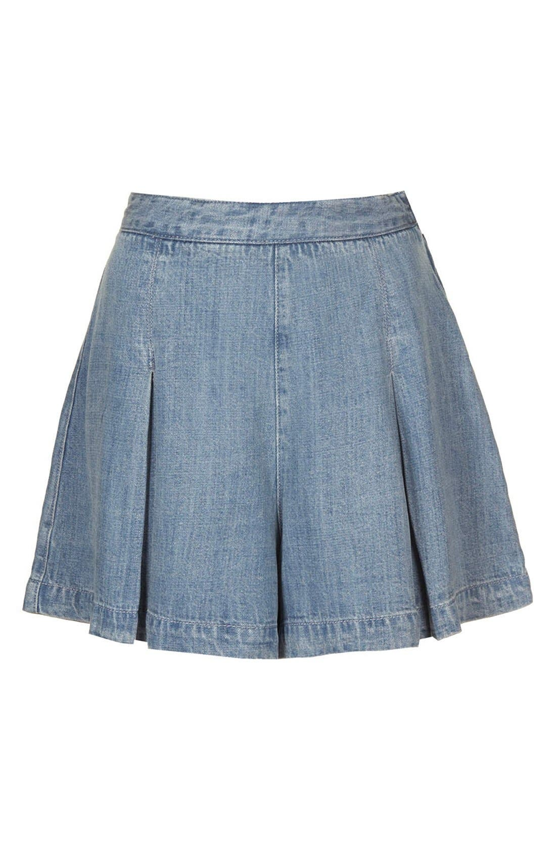 Alternate Image 3  - Topshop Moto Pleated Denim Skort